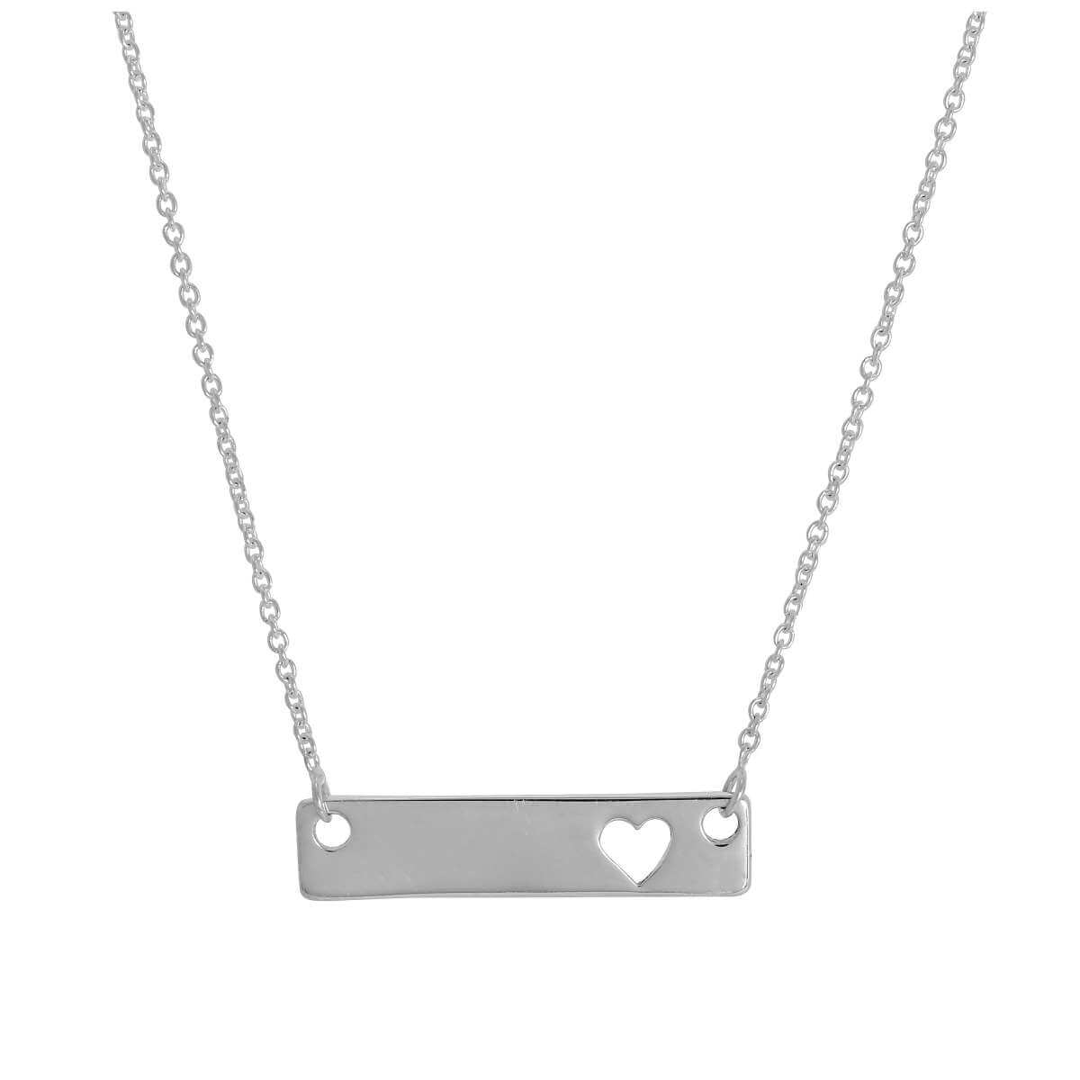 Sterling Silver 17 Inch Necklace with Engravable Bar & Heart