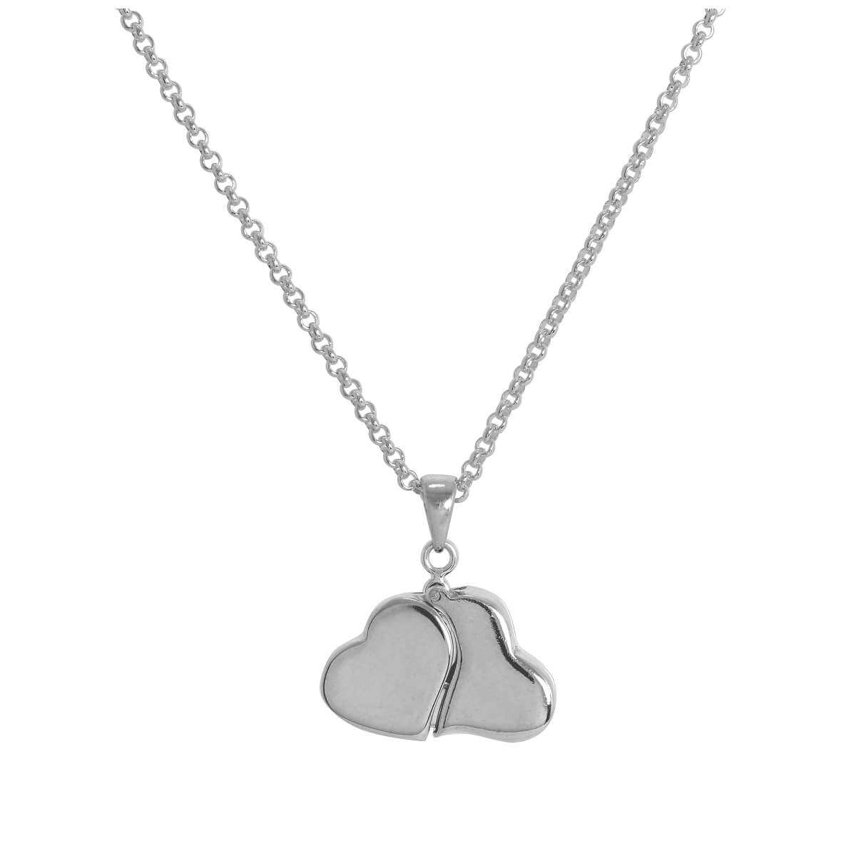 Sterling Silver Opening Double Heart Necklace on 18 Inch Chain