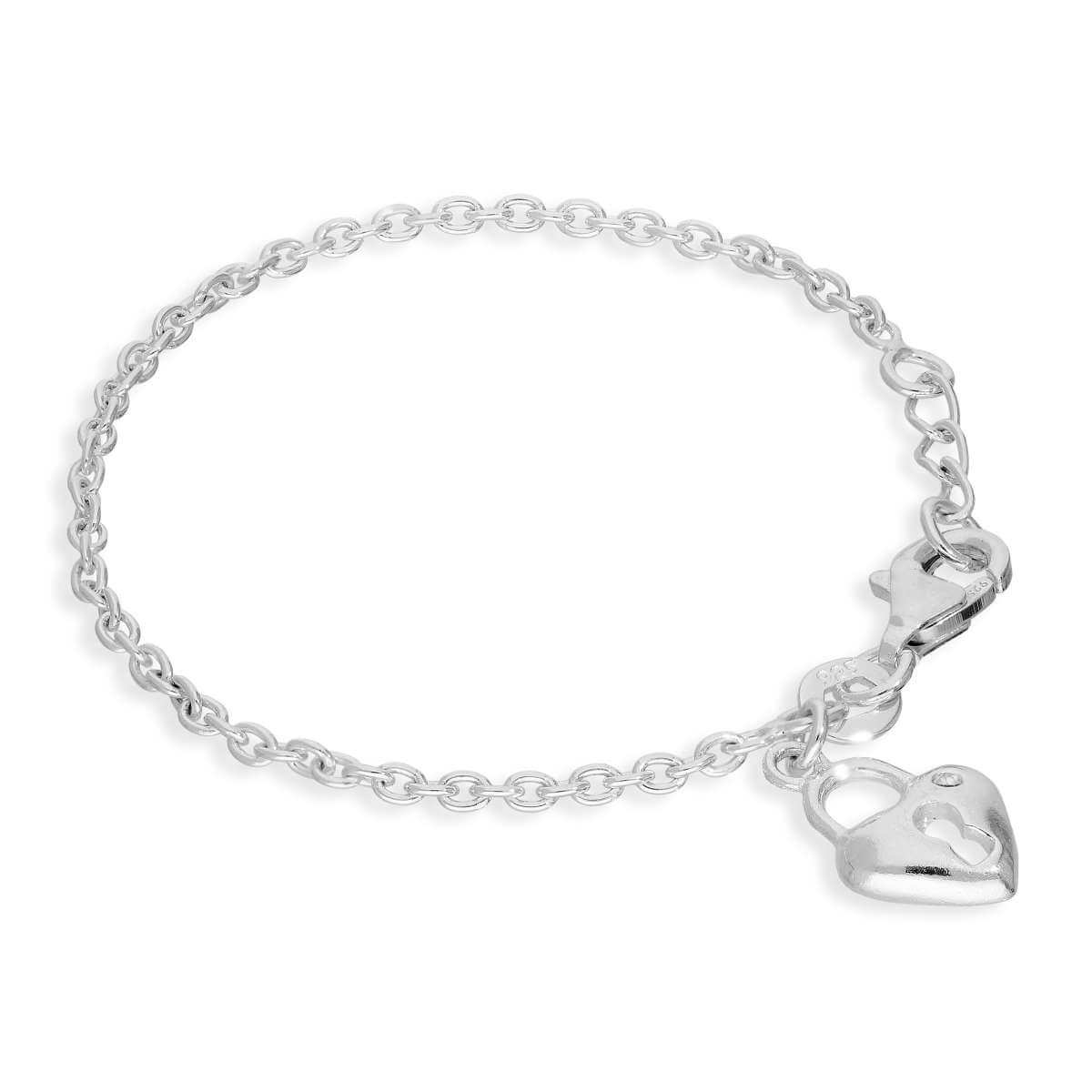 Sterling Silver & Clear CZ Crystal 5 Inch Child Heart Padlock Bracelet