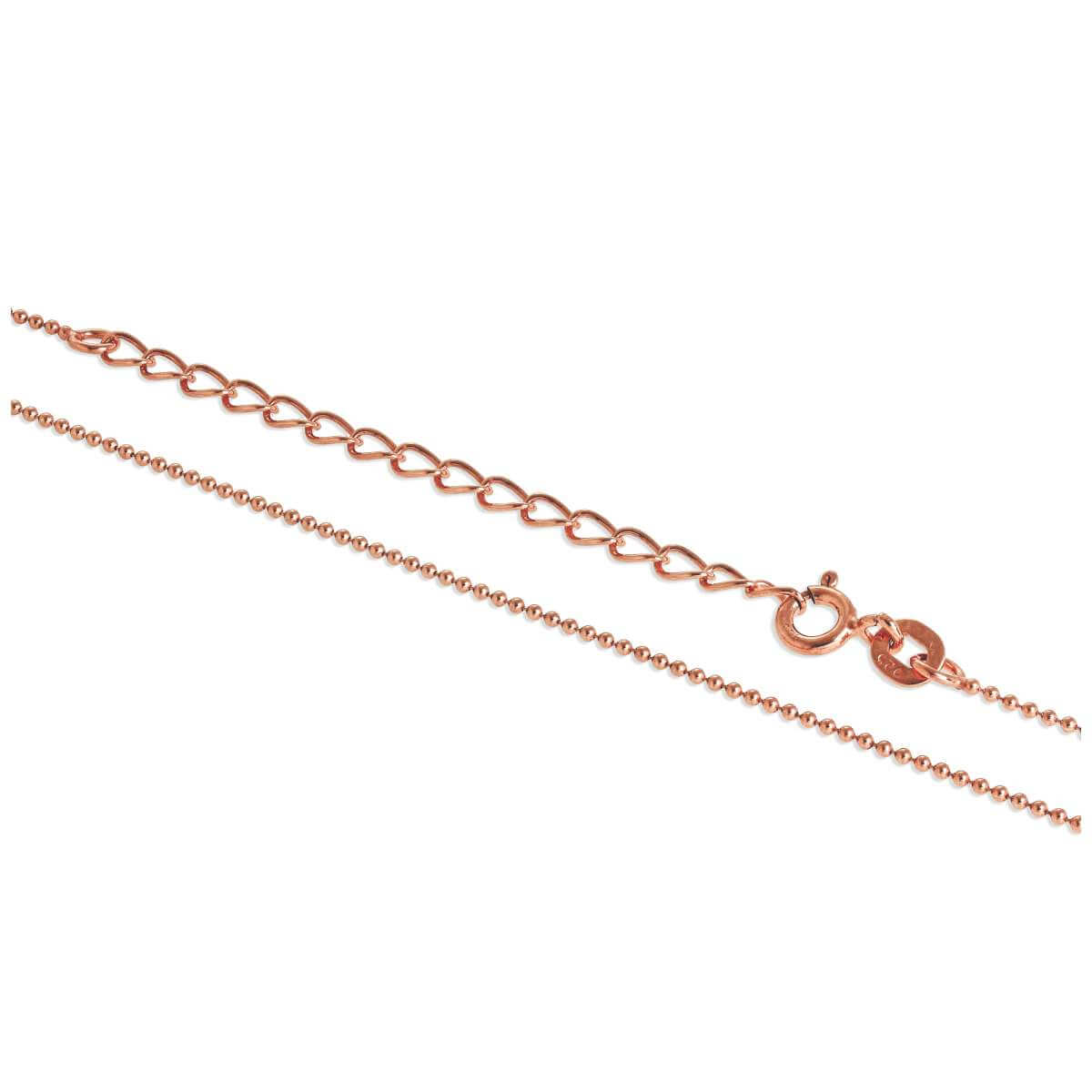 Rose Gold Plated Sterling Silver 1mm Bead Chain 16 + 2 Inches