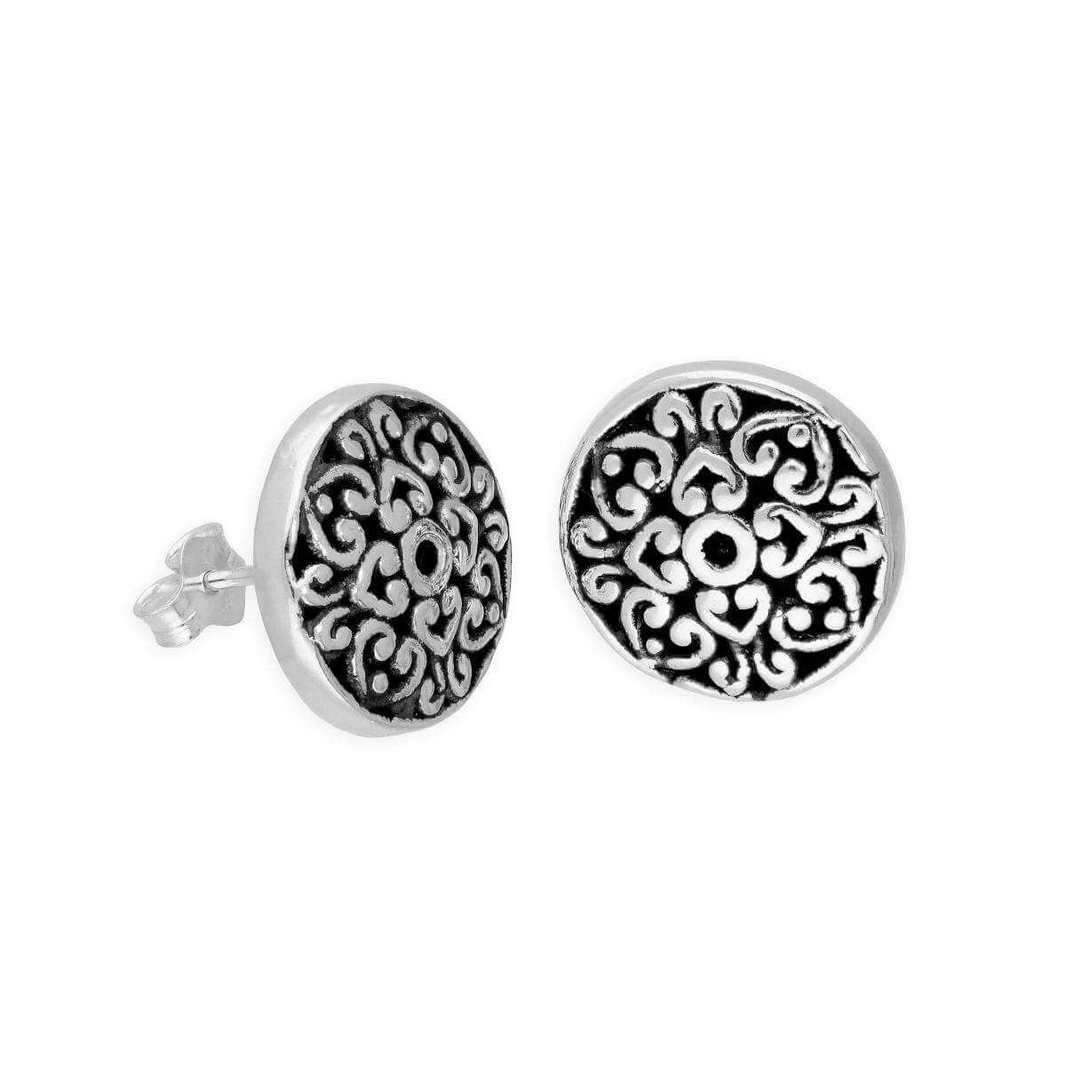 Large Sterling Silver Floral Stud Earrings
