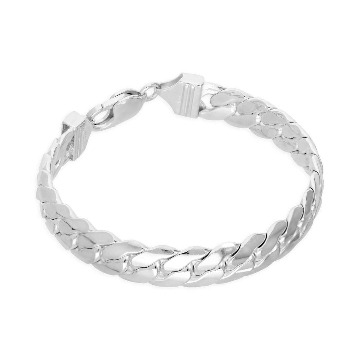 Sterling Silver Thick Heavy 10mm Diamond Cut Curb Mens Bracelet 8 Inches