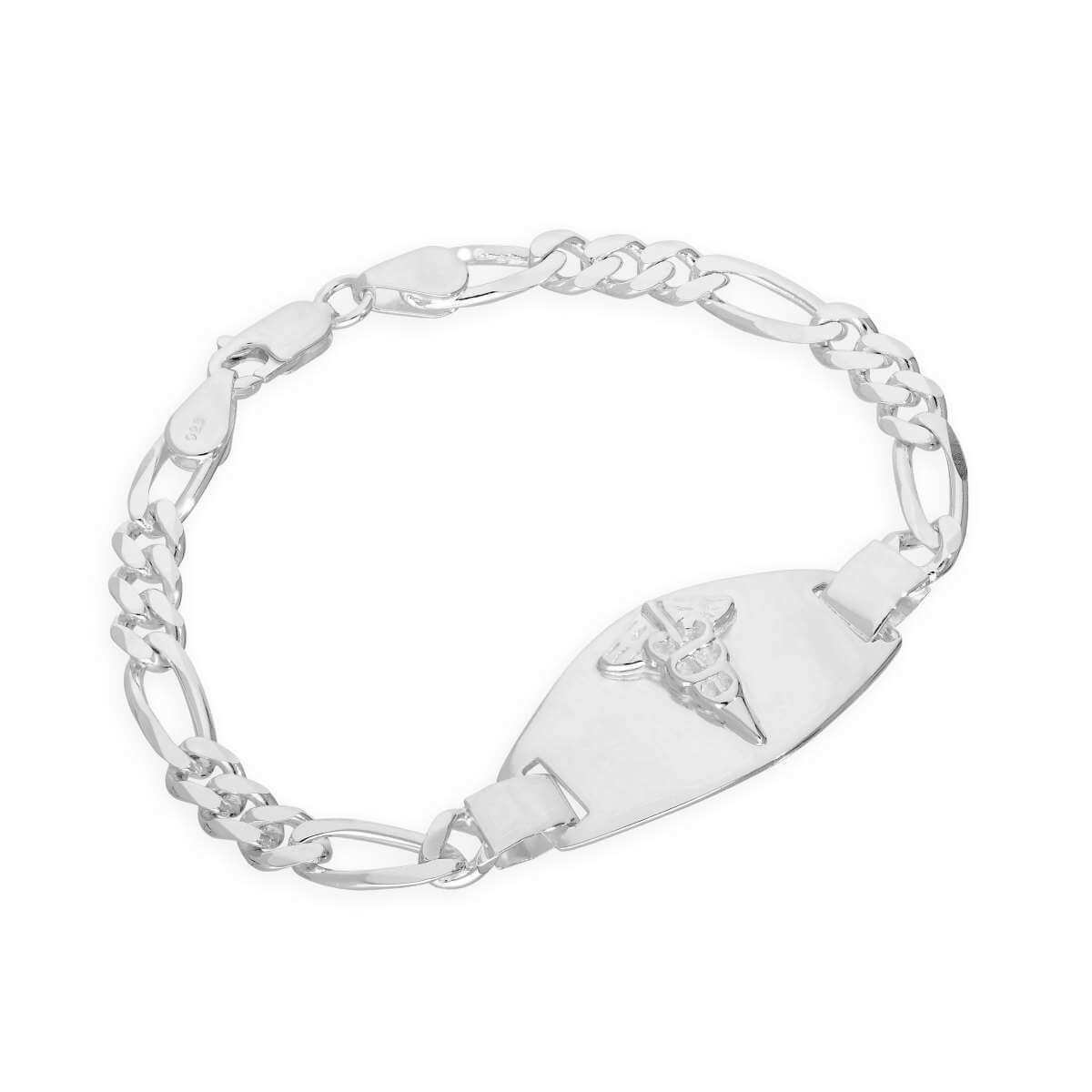 Sterling Silver 6mm Curb Ladies Engravable Medical Alert Bracelet 7 Inches