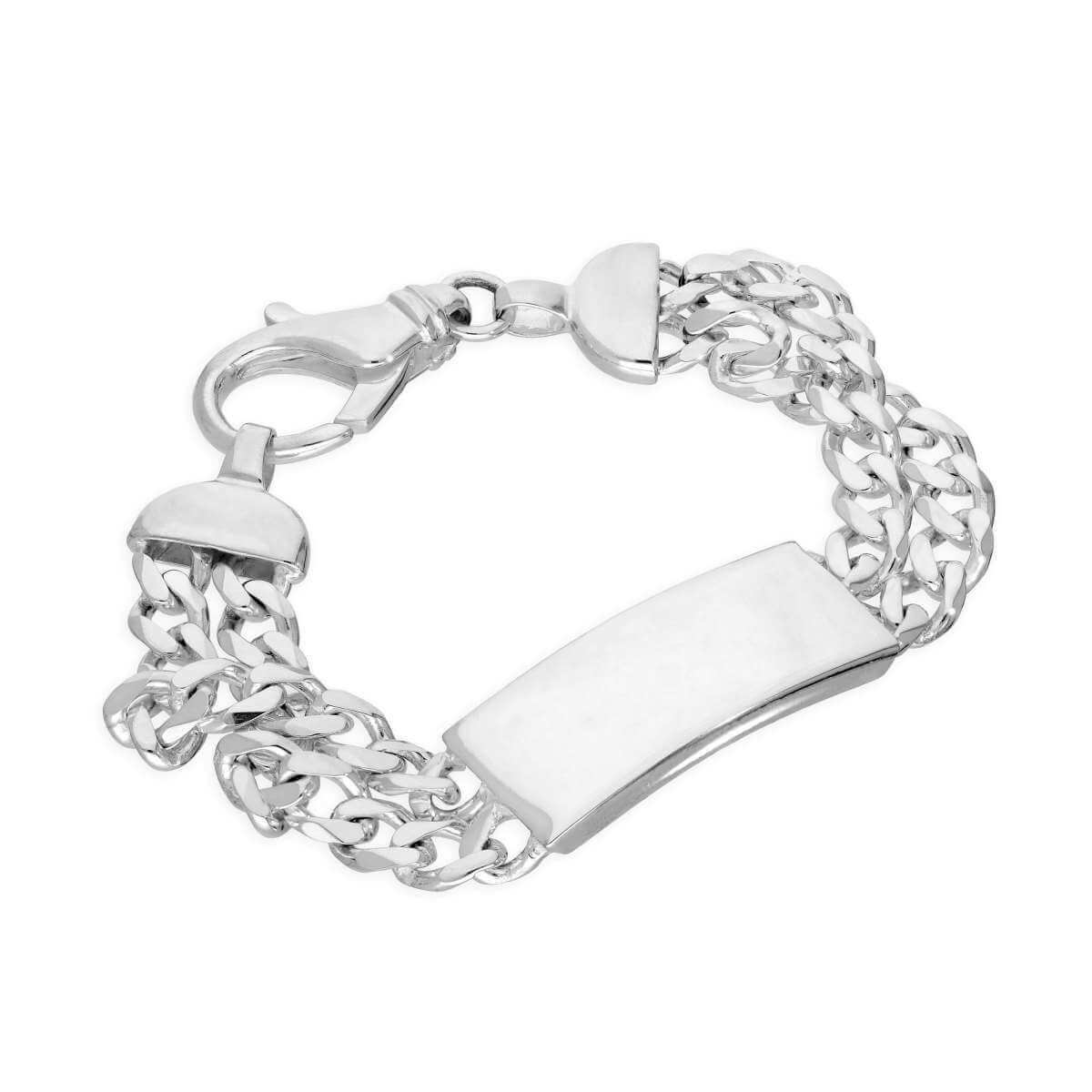 Sterling Silver 14mm Double Diamond Cut Curb Mens ID Bracelet 8 Inches