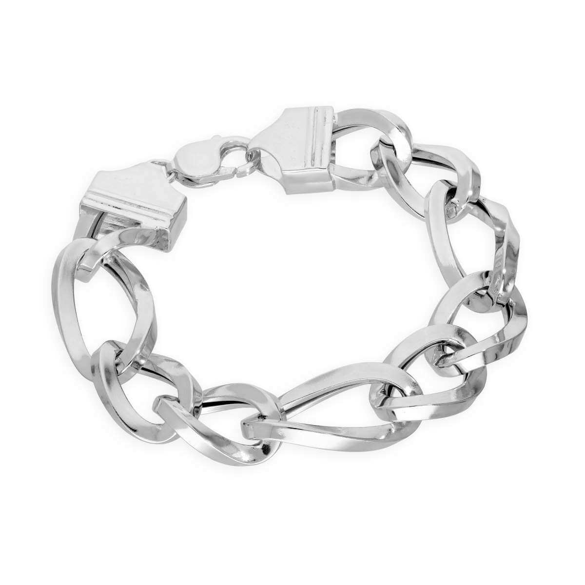 Sterling Silver Thick Heavy 15mm Curb Mens Bracelet 8 Inches