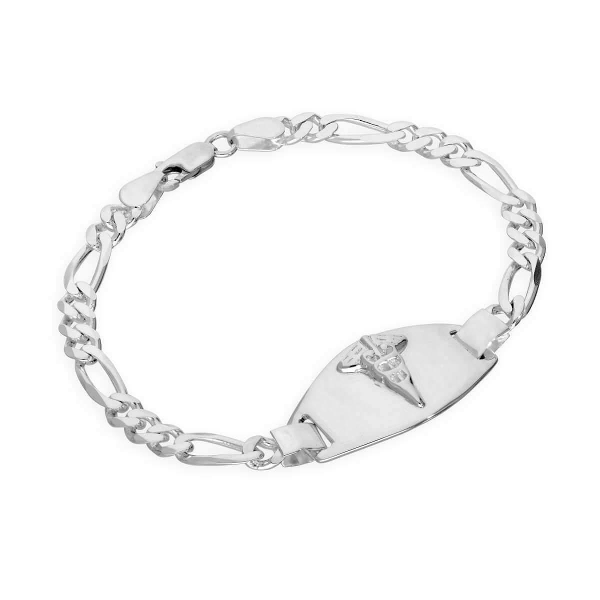 Sterling Silver 6mm Curb Mens Engravable Medical Alert Bracelet 7.5 Inches