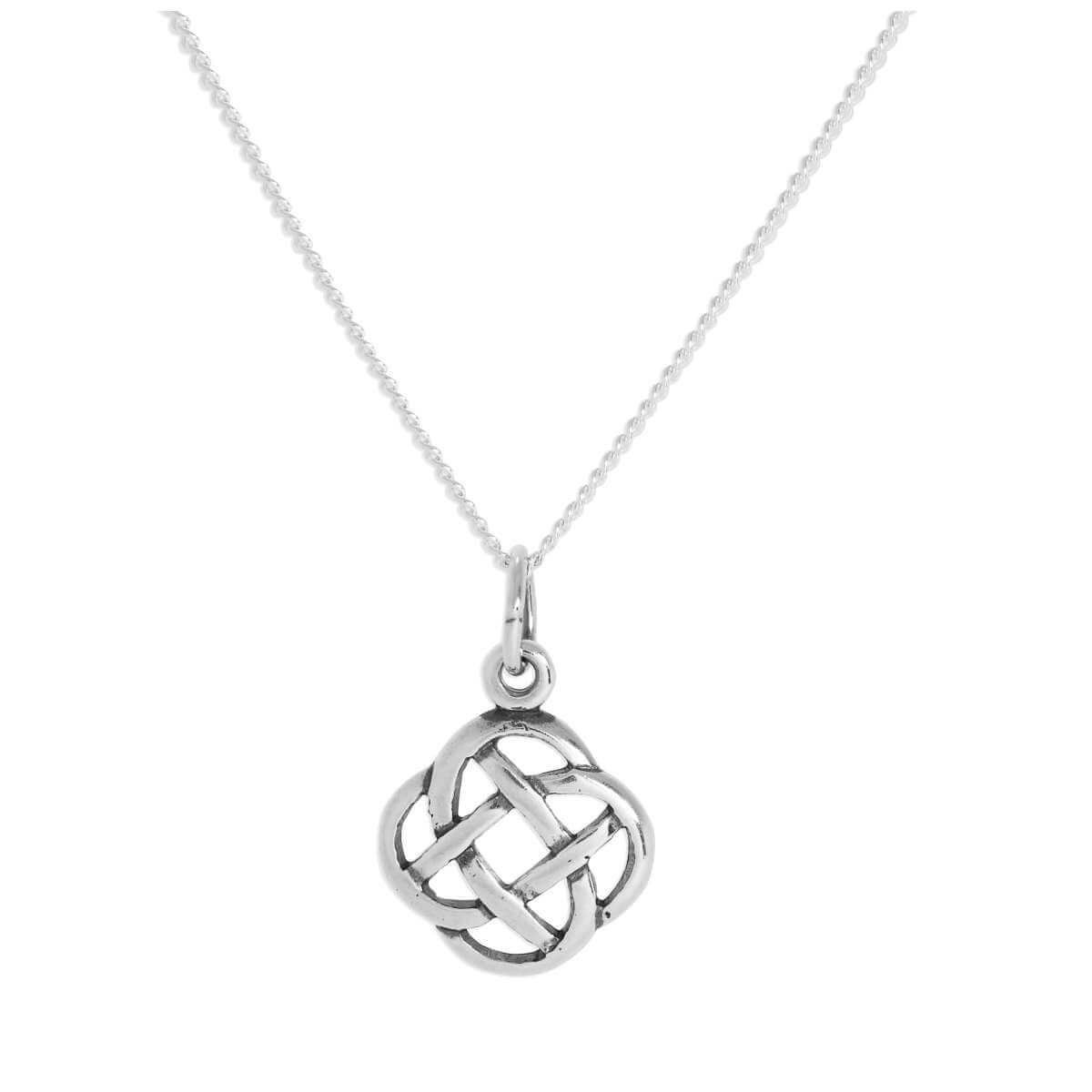 Sterling Silver Round Celtic Knot Pendant on Chain 16 - 24 Inches