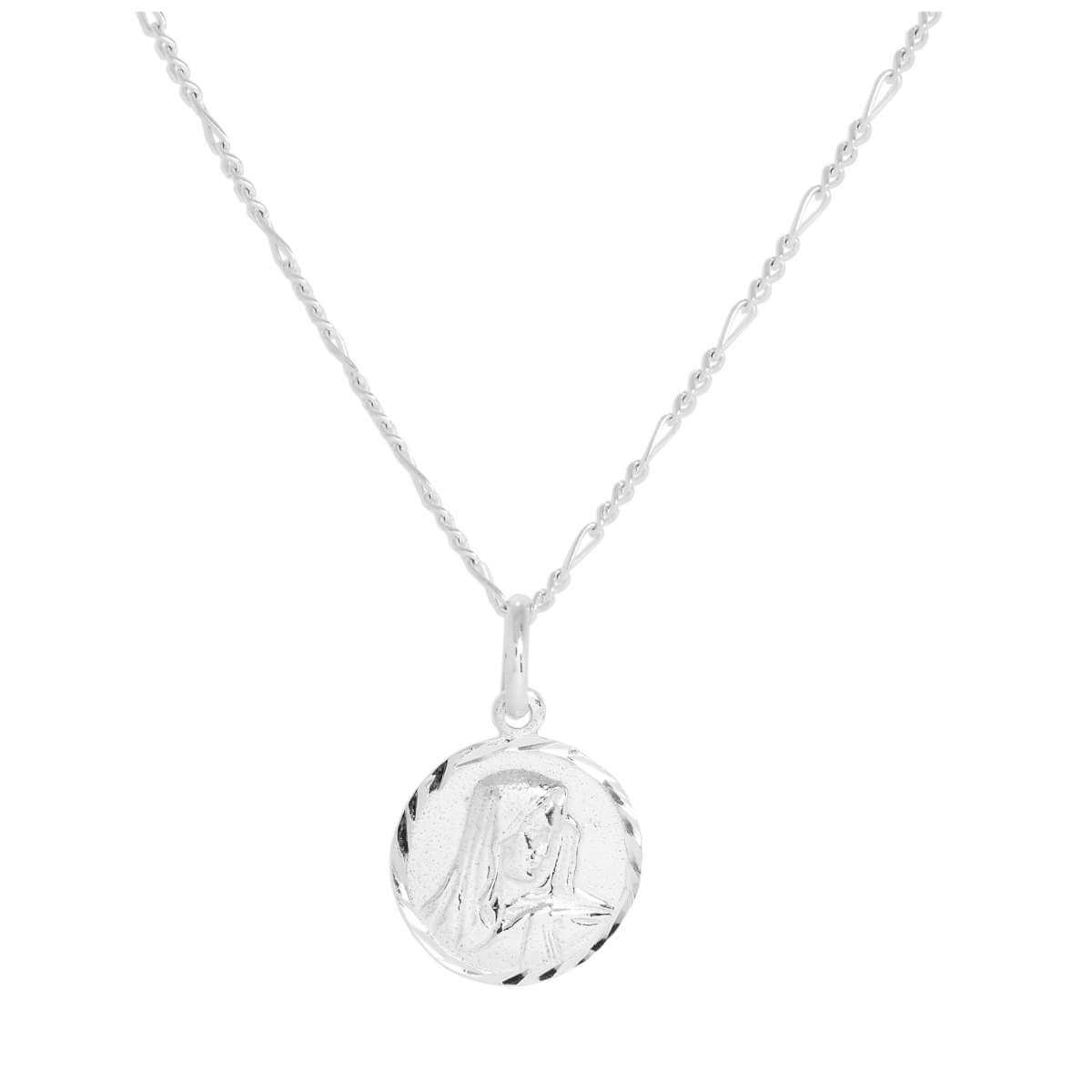Sterling Silver Madonna with Child Pendant Necklace 14 - 32 Inches
