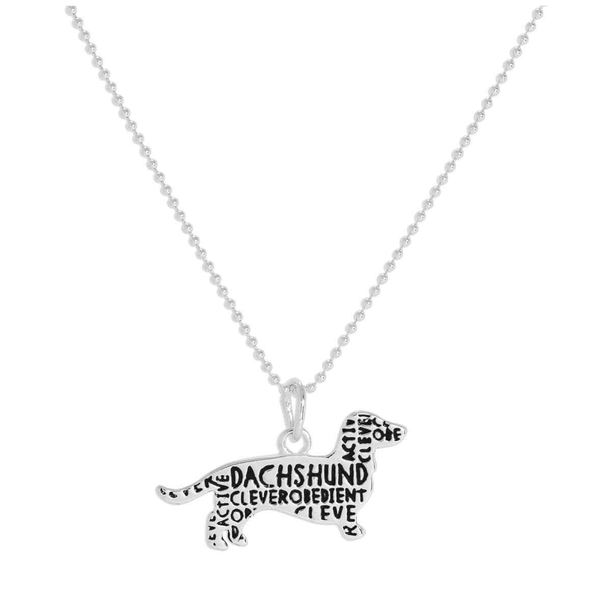 Sterling Silver Dachshund Pendant Necklace 14 - 22 Inches
