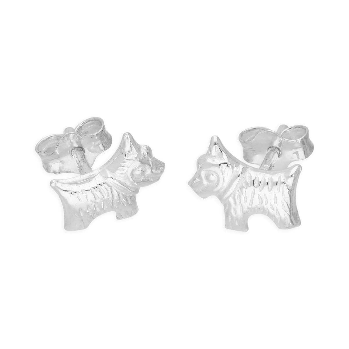 Sterling Silver Tiny Scottie Dog Stud Earrings