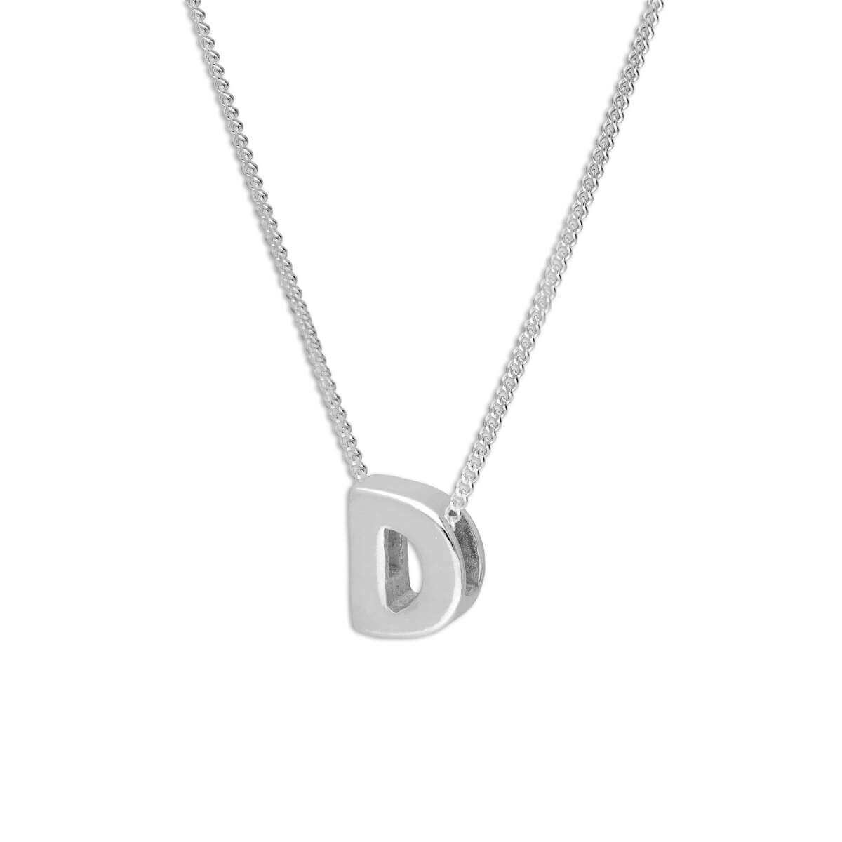 Sterling Silver Alphabet Letter Threader Bead 16+2 Inch Necklace D