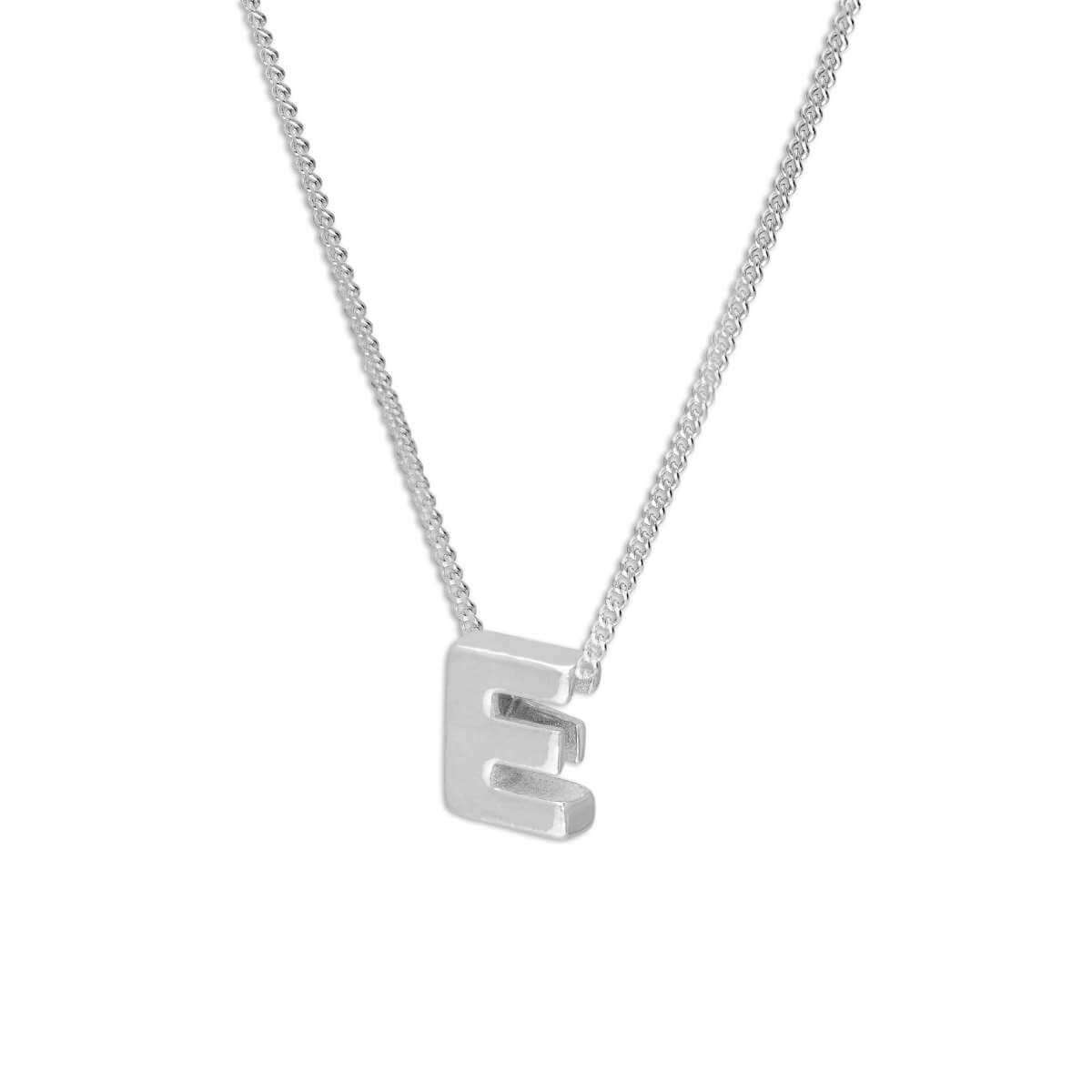 Sterling Silver Alphabet Letter Threader Bead 16+2 Inch Necklace E