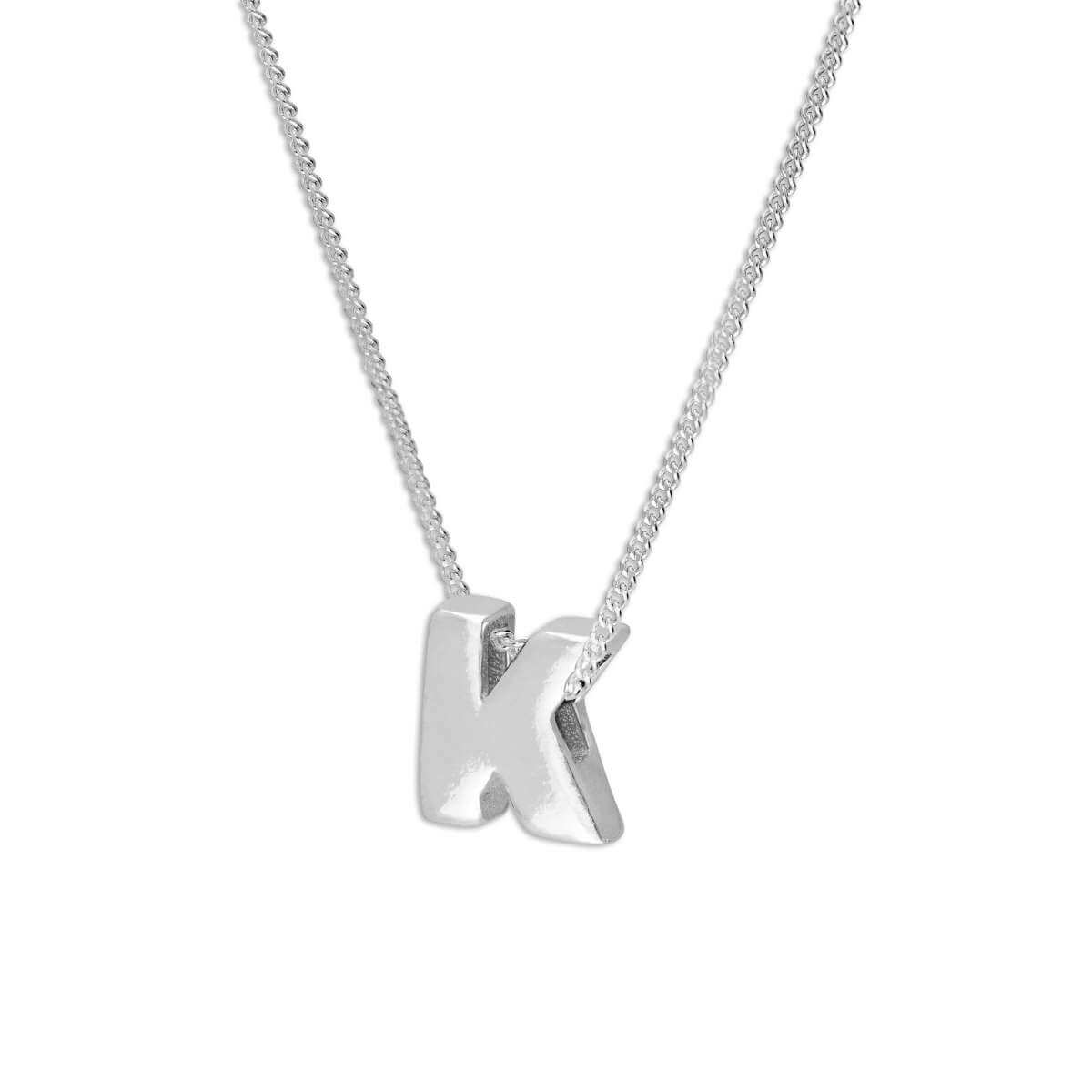 Sterling Silver Alphabet Letter Threader Bead 16+2 Inch Necklace K