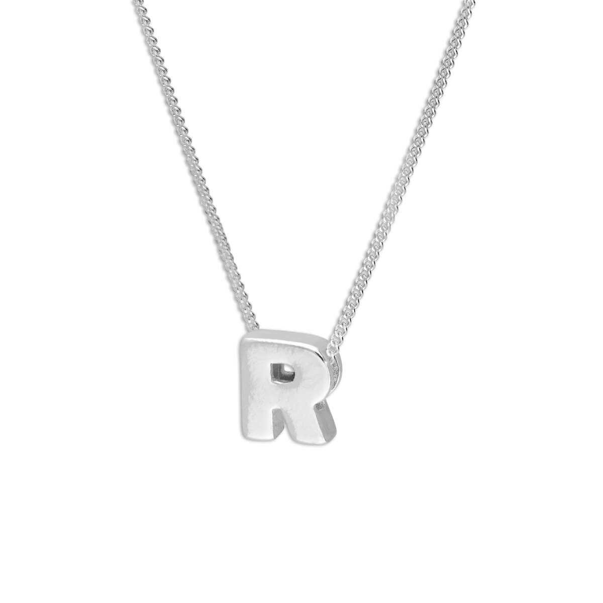 Sterling Silver Alphabet Letter Threader Bead 16+2 Inch Necklace R