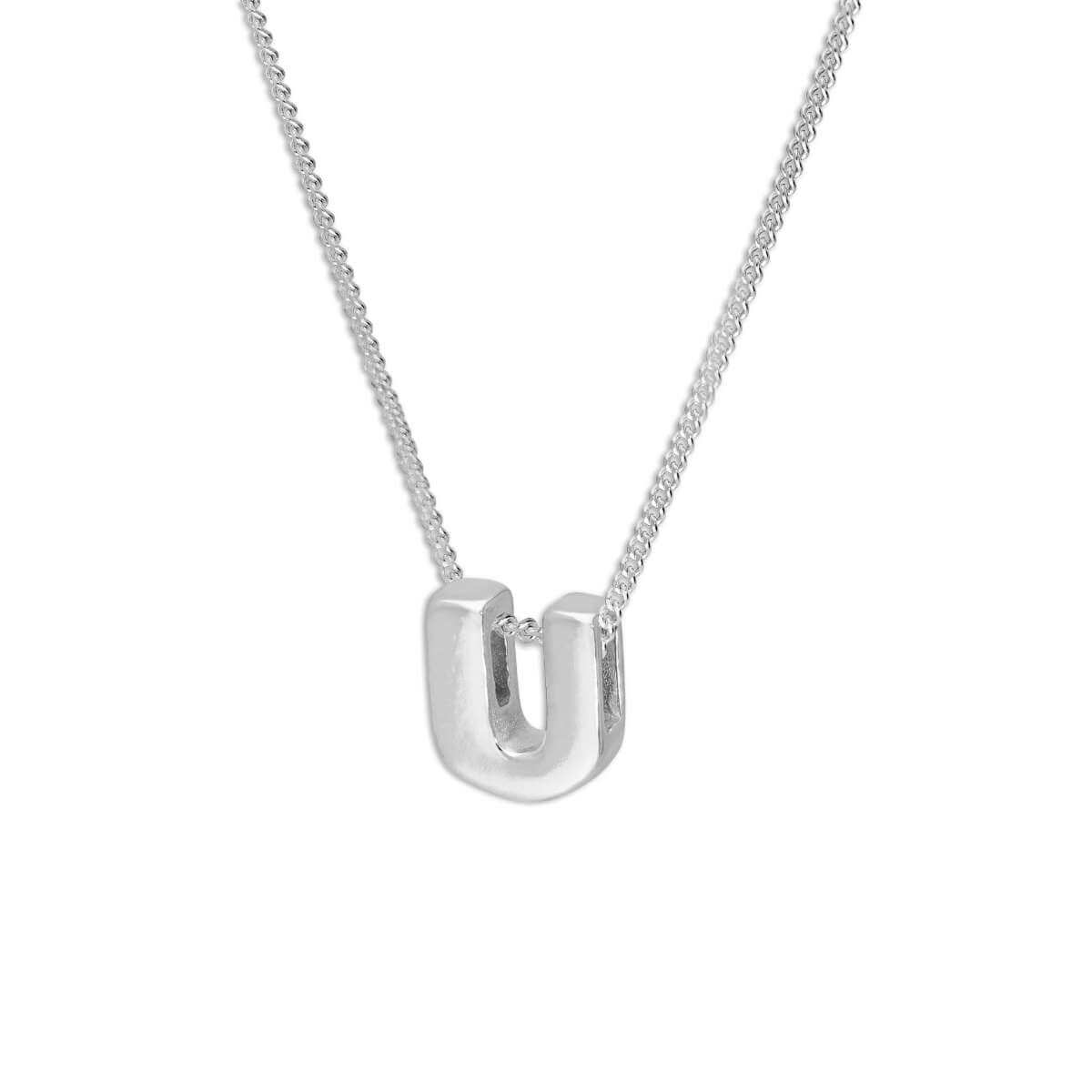 Sterling Silver Alphabet Letter Threader Bead 16+2 Inch Necklace U