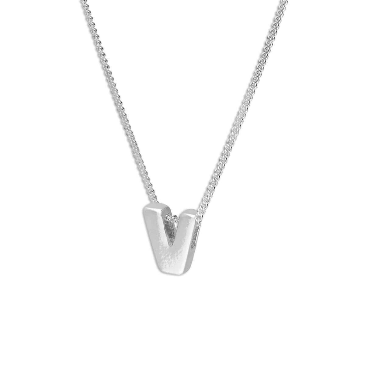 Sterling Silver Alphabet Letter Threader Bead 16+2 Inch Necklace V