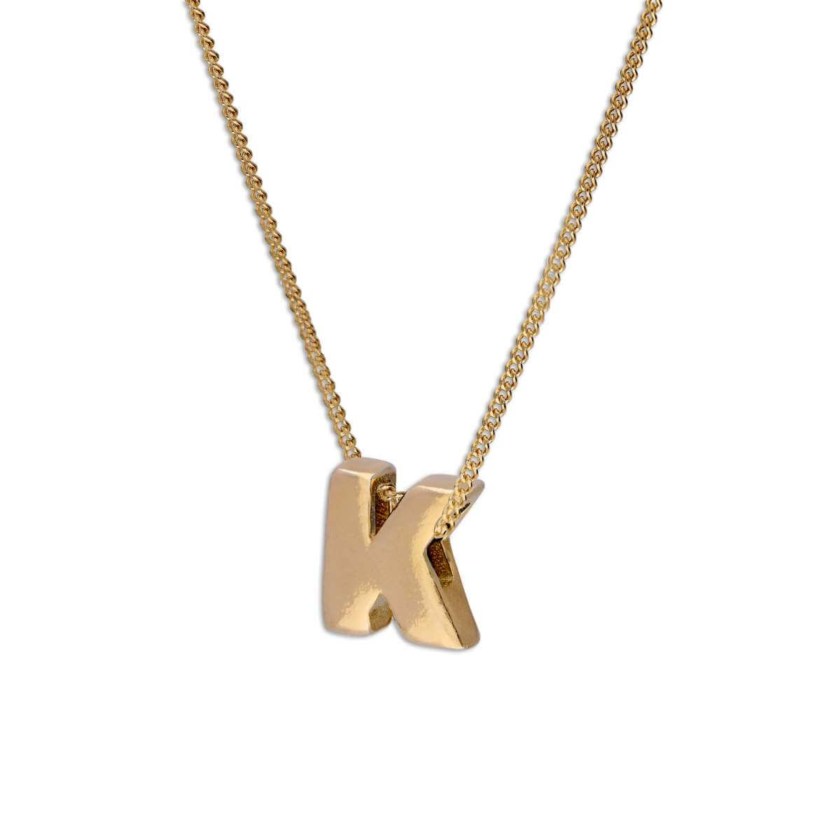 Gold Plated Sterling Silver Alphabet Letter Threader Bead 18 Inch Necklace K