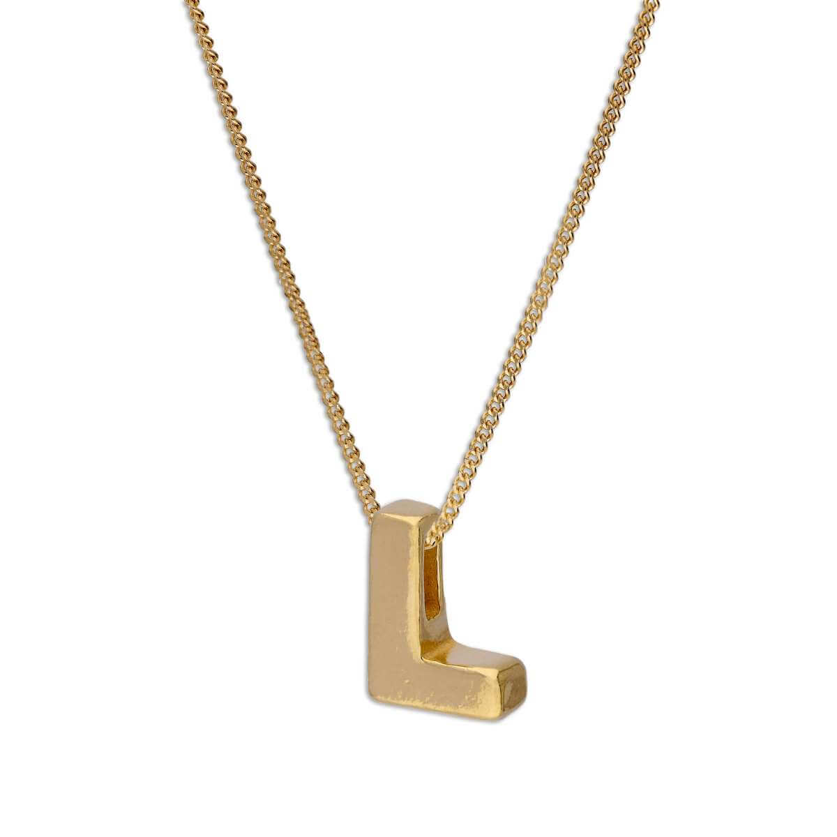 Gold Plated Sterling Silver Alphabet Letter Threader Bead 18 Inch Necklace L