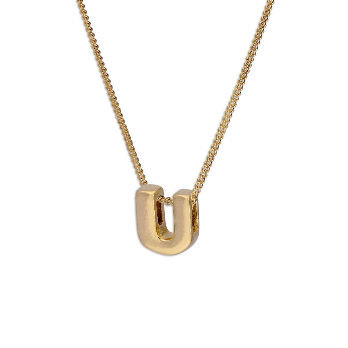 Gold Plated Sterling Silver Alphabet Letter Threader Bead 18 Inch Necklace U