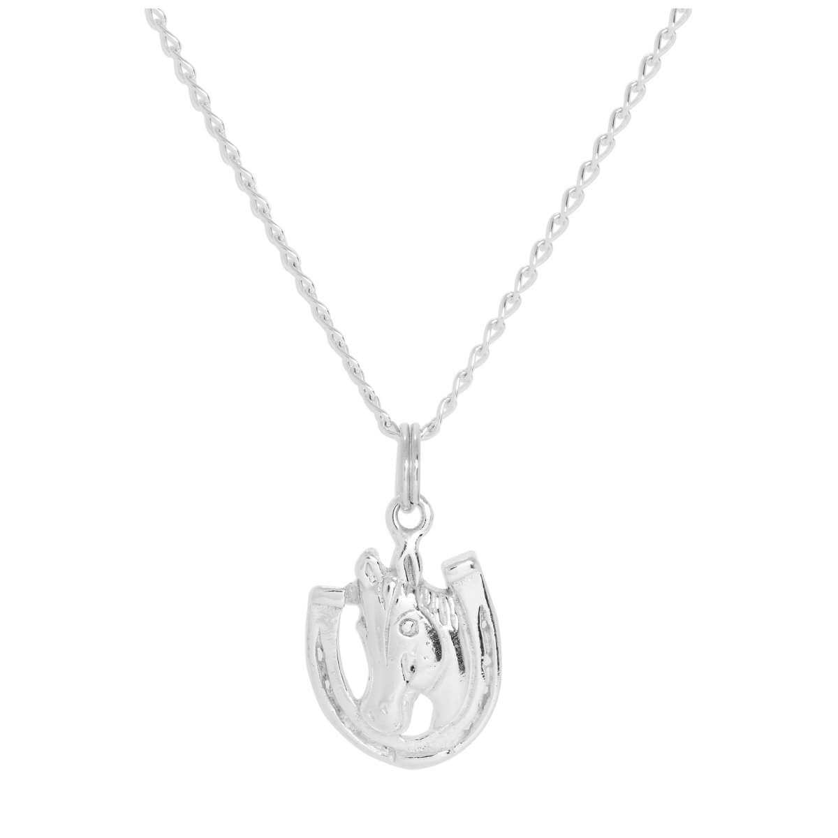 Sterling Silver Horse & Lucky Horseshoe Pendant Necklace 16 - 24 Inches