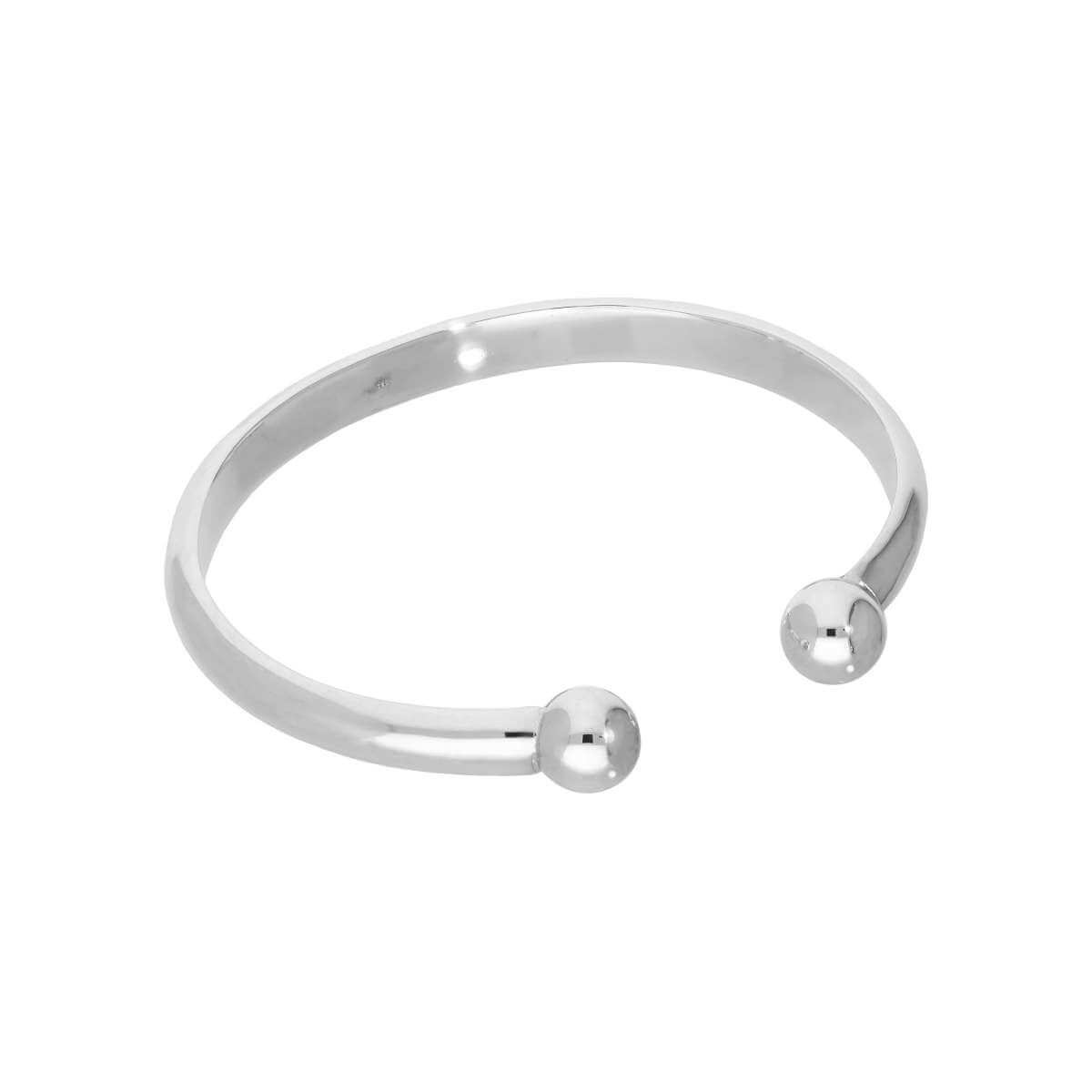Sterling Silver Womens Thick Heavy 66mm Torque Bangle