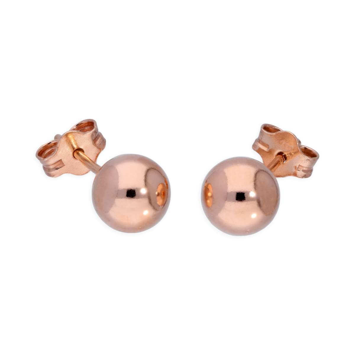 Rose Gold Plated Sterling Silver Lightweight 6mm Ball Stud Earrings