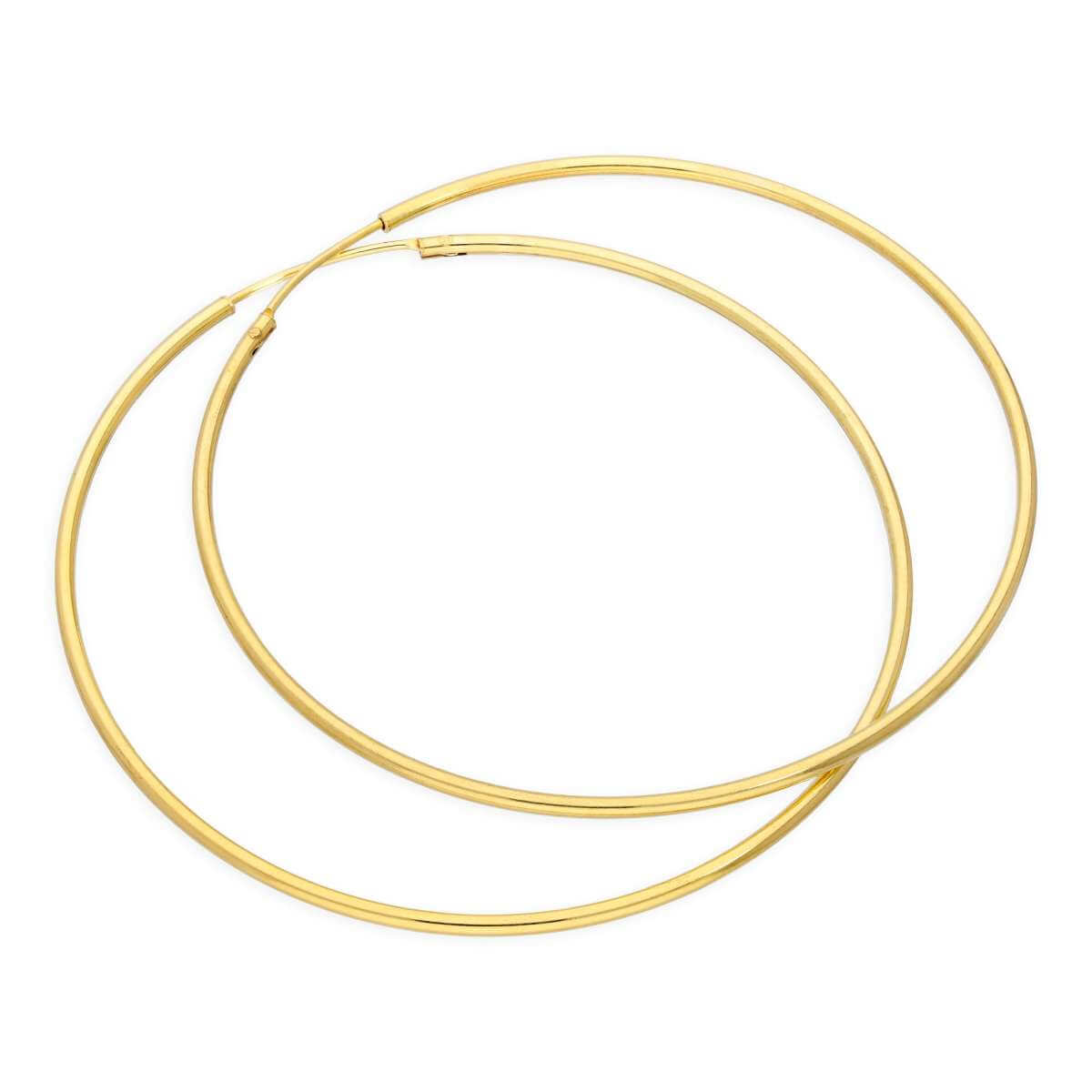 Yellow Gold Plated Sterling Silver 50mm Hoop Sleeper Earrings