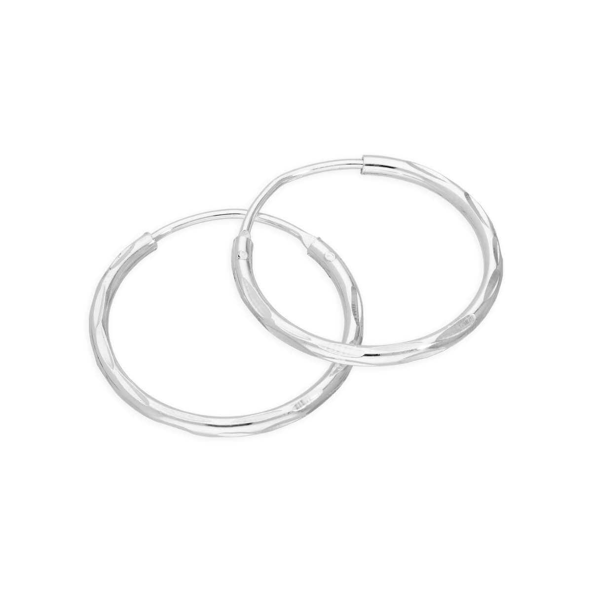 Sterling Silver Diamond Cut Sleeper 16mm Hoop Earrings