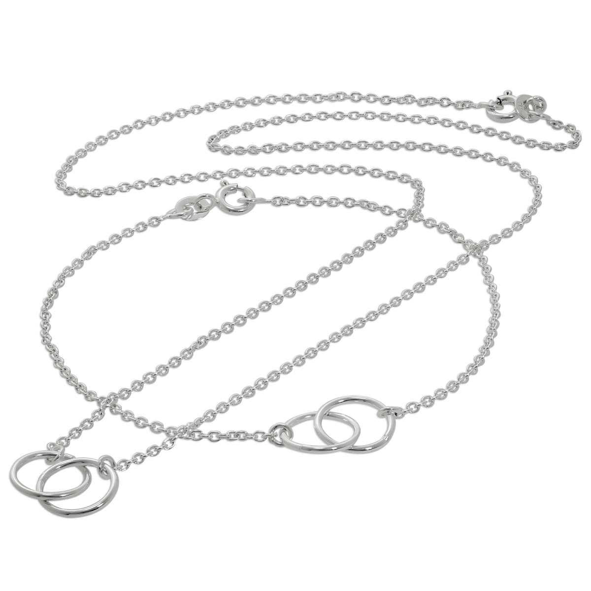 Sterling Silver Infinity Karma Circle Necklace & Bracelet Set