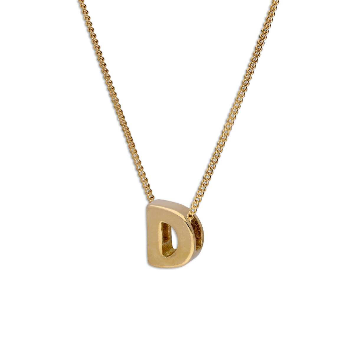 Gold Plated Sterling Silver Threader Letter D Bead Necklace 16 - 22 Inches