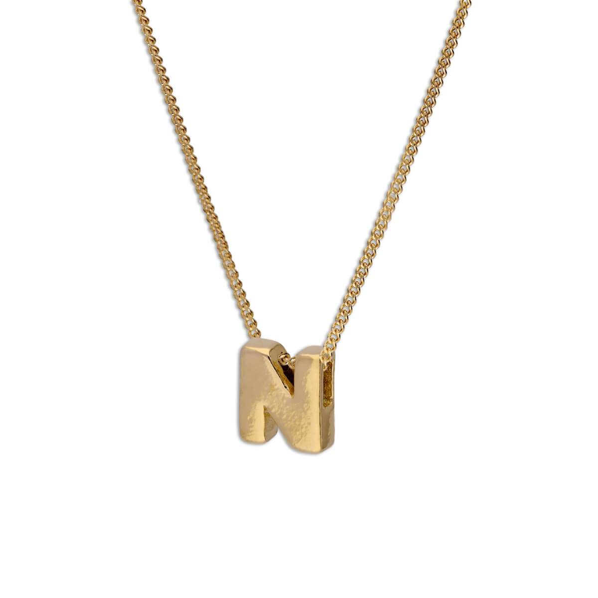 Gold Plated Sterling Silver Threader Letter N Bead Necklace 16 - 22 Inches