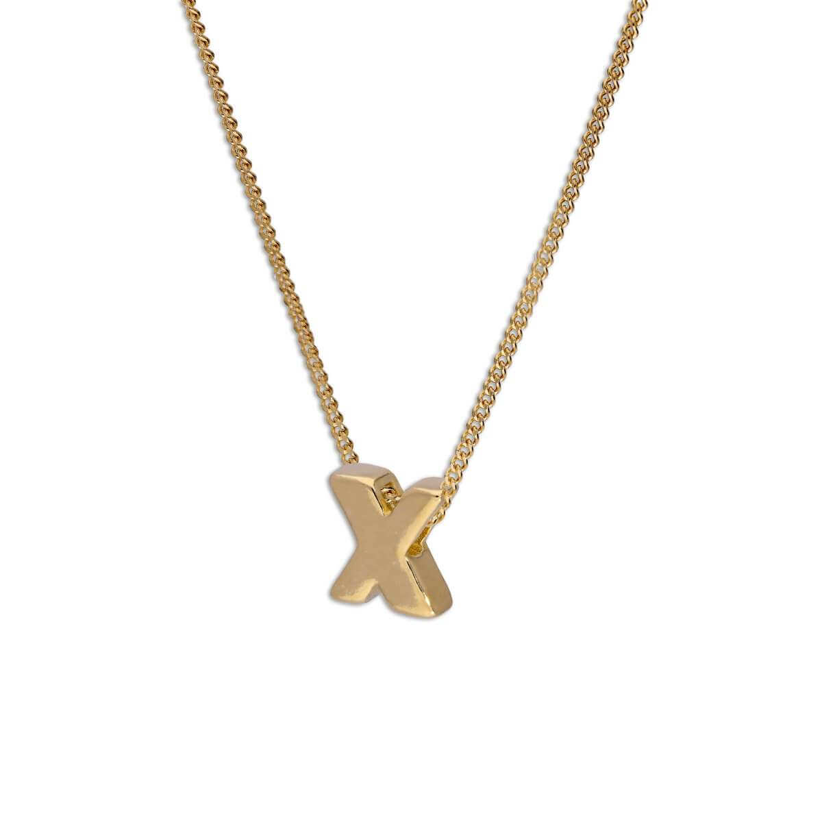 Gold Plated Sterling Silver Threader Letter X Bead Necklace 16 - 22 Inches