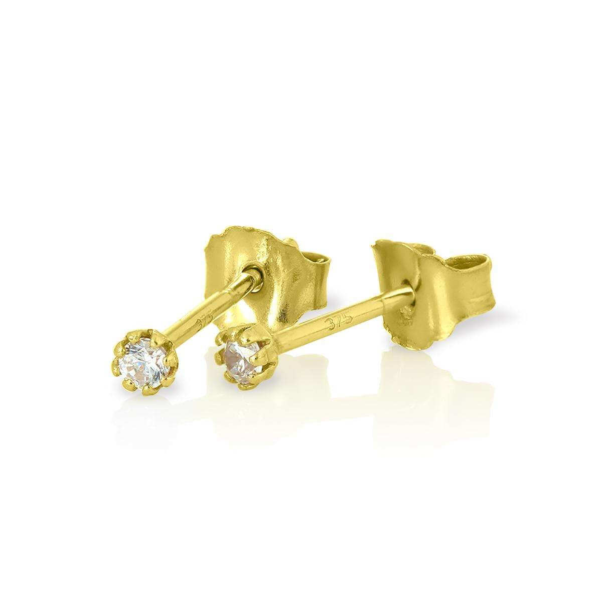 9ct Gold & Round 2mm CZ Crystal Stud Earrings