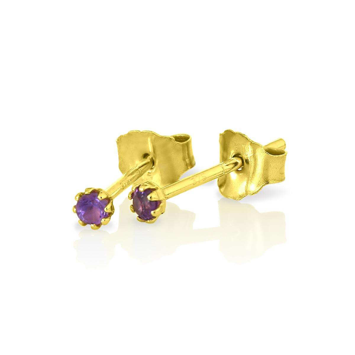 9ct Gold & Amethyst Gemstone 2mm Round Stud Earrings