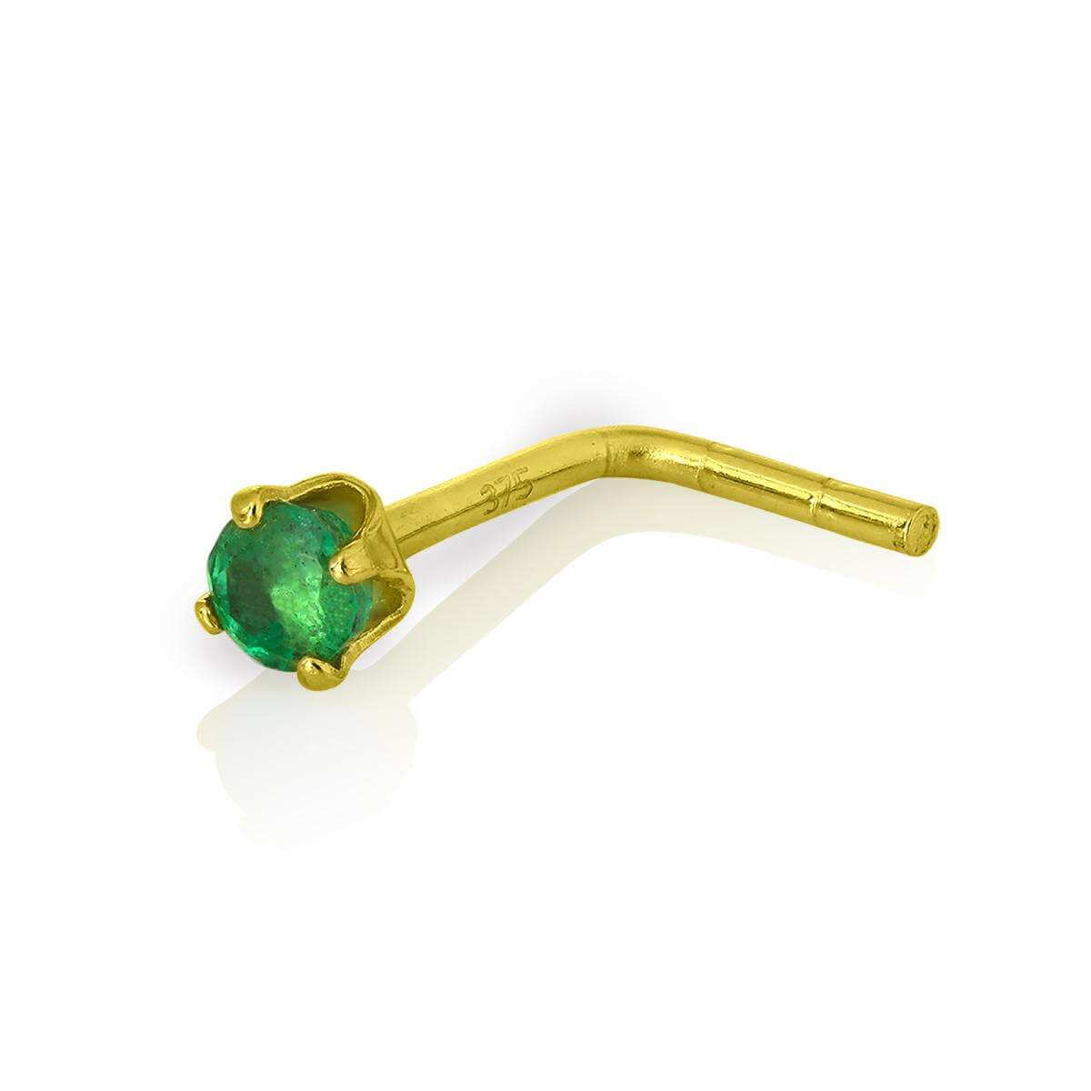 9ct Gold & 2mm Round Emerald Gemstone L-Shaped Nose Pin