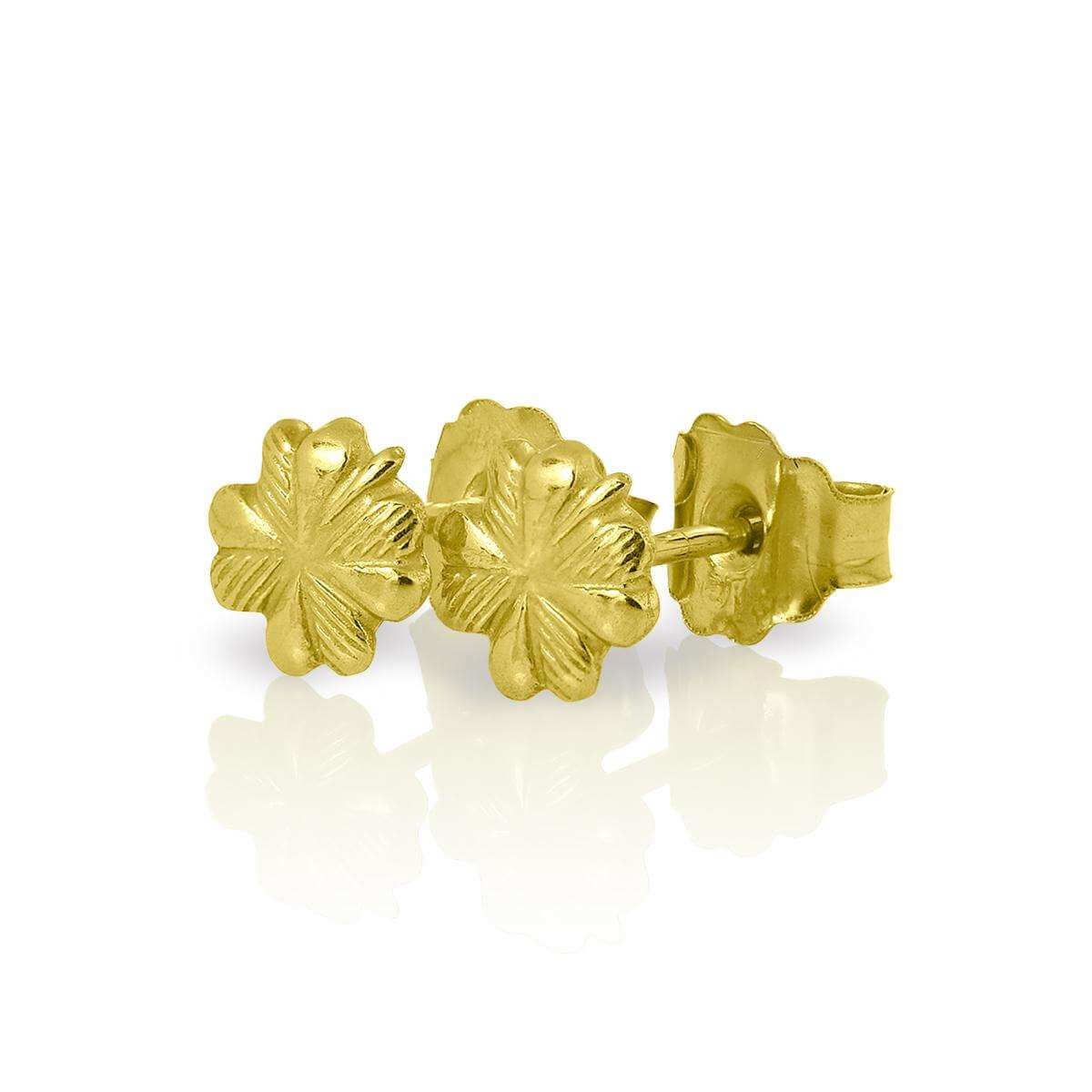 Small 9ct Gold 4 Leaf Clover Stud Earrings