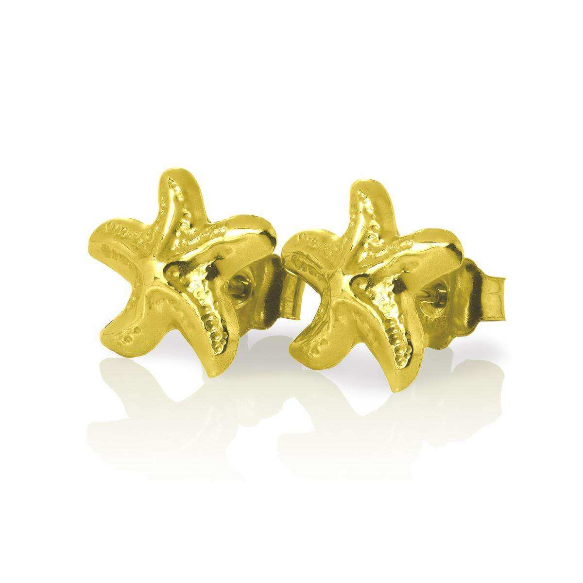9ct Gold Star Fish Stud Earrings