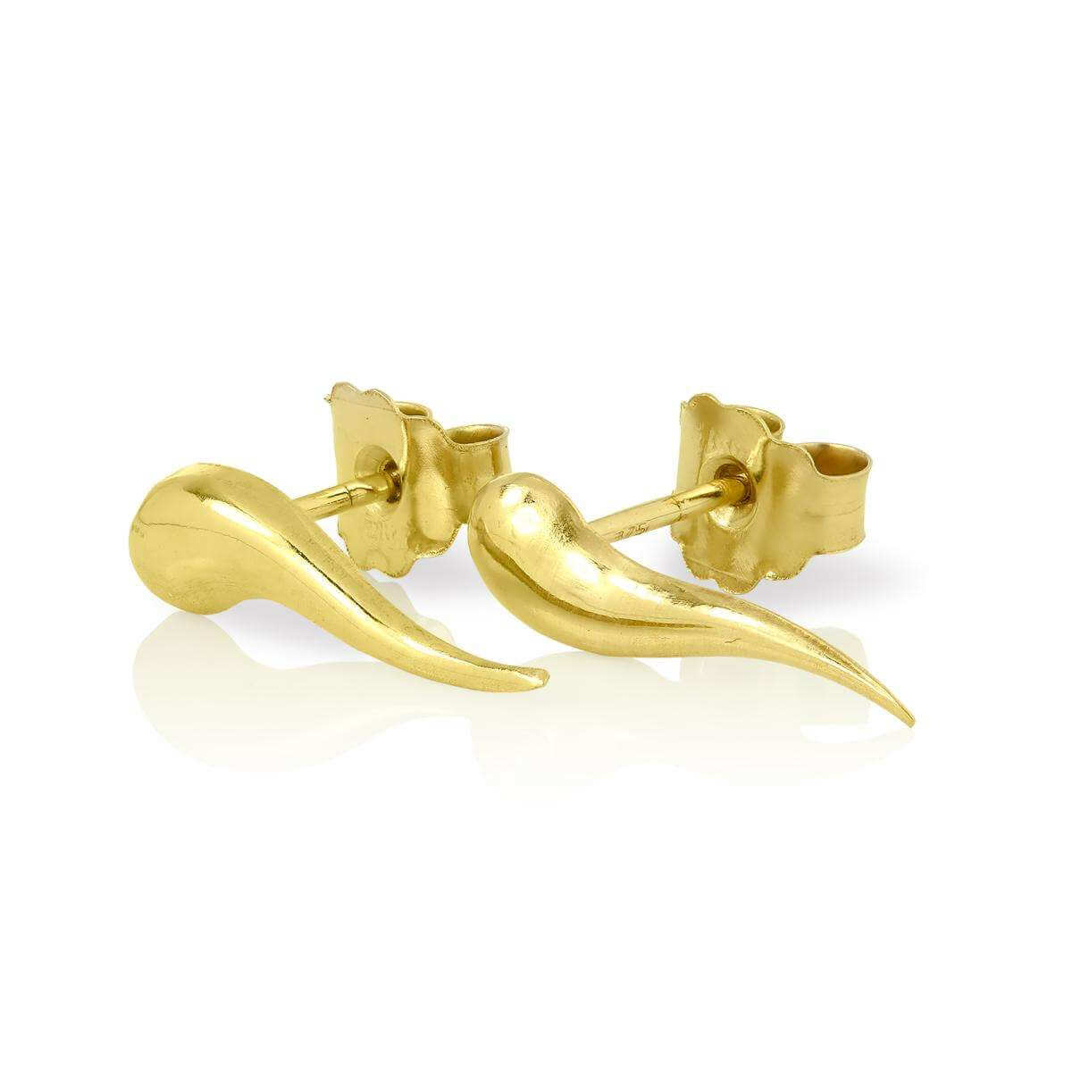 9ct Gold Cornicello Horn Stud Earrings