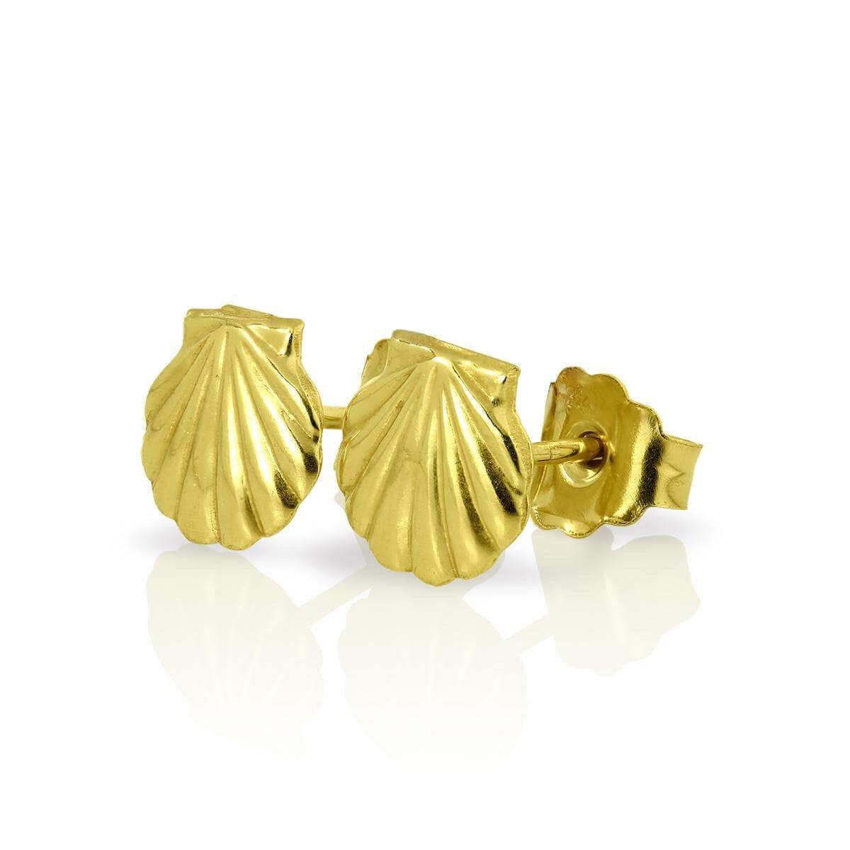 9ct Gold Clam Sea Shell Stud Earrings