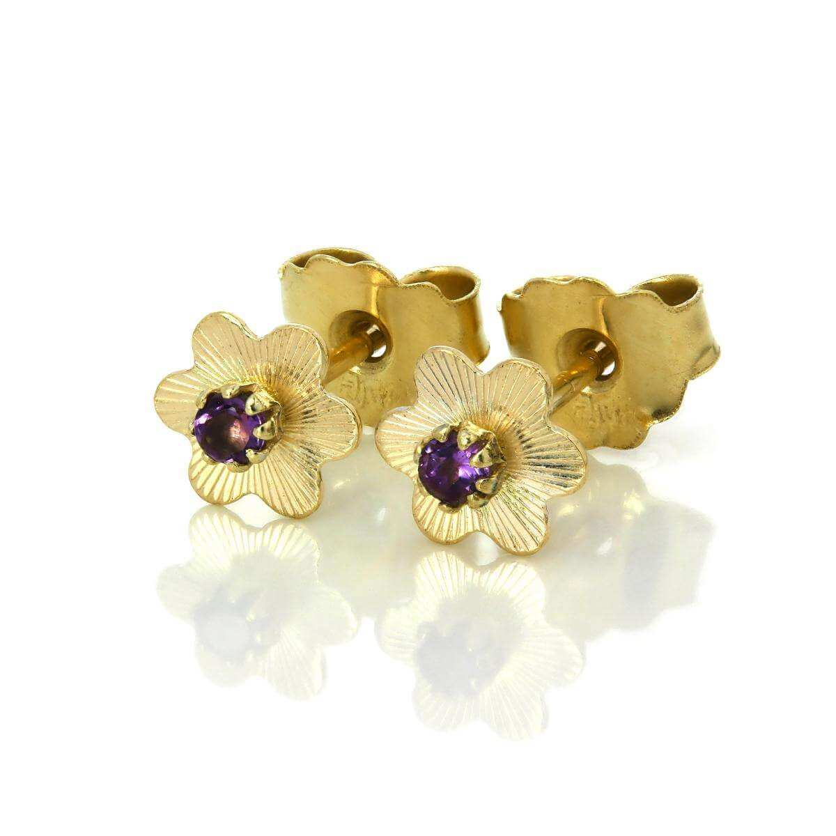 9ct Gold Flower Stud Earrings with 1.5mm Round Gemstones - Amethyst