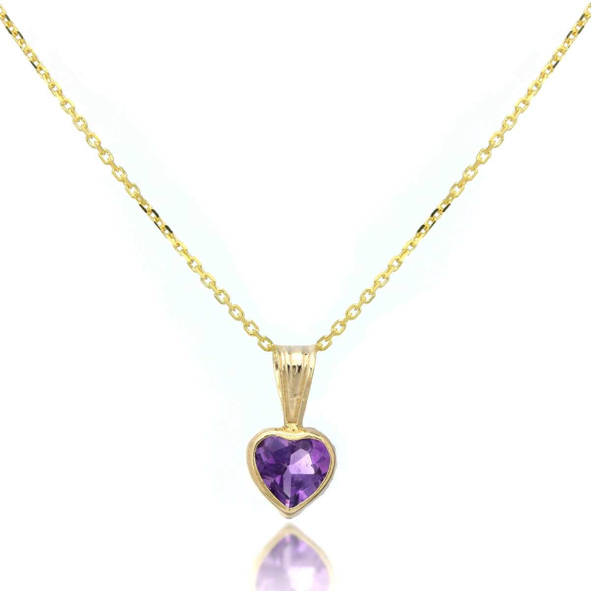 9ct Gold Gemstone Heart Pendant Amethyst