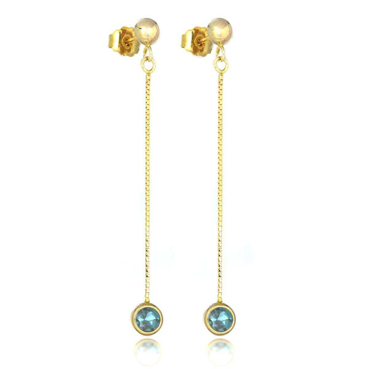 9ct Gold & 4mm Round Gemstone Drop Stud Earrings Sky Blue Topaz