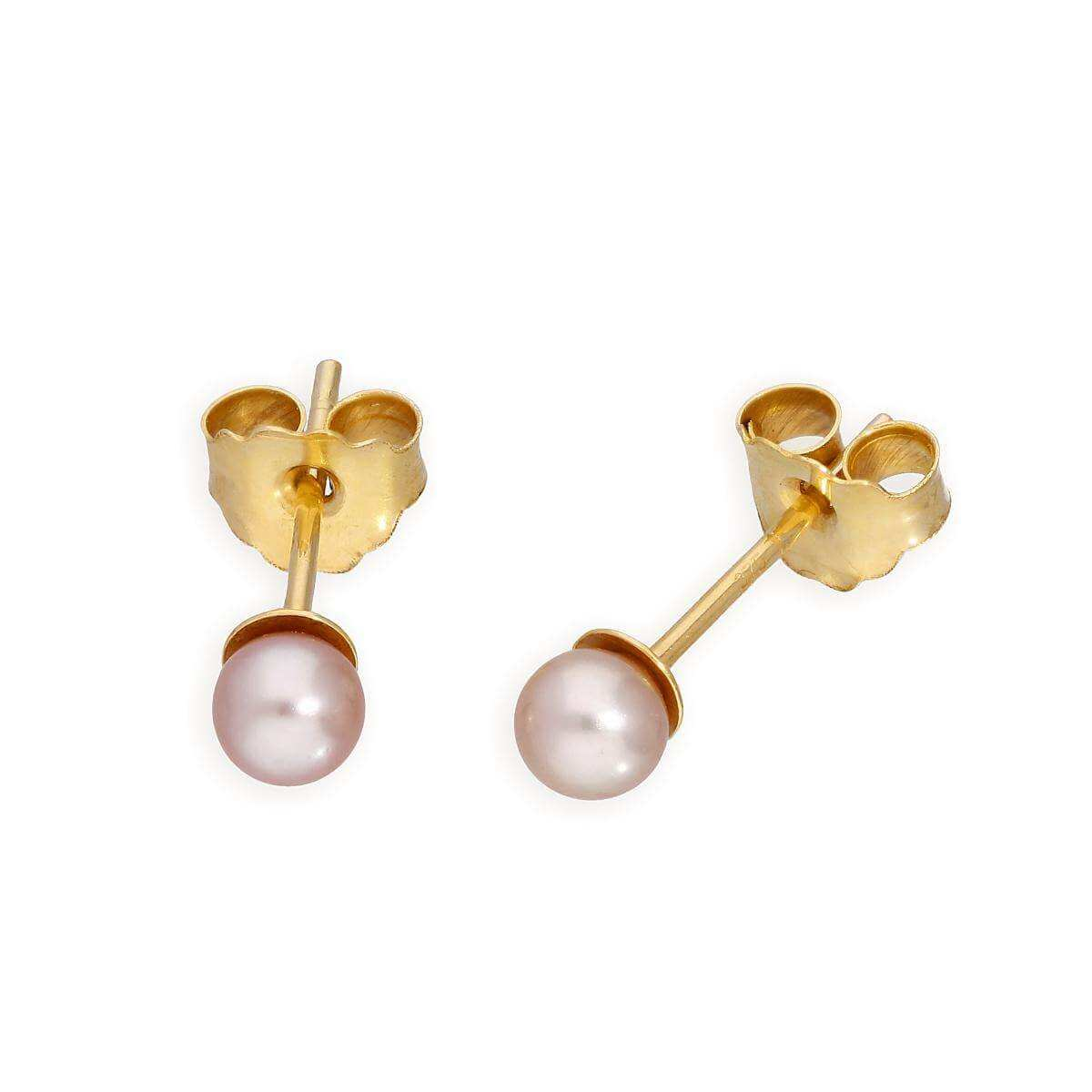 9ct Yellow Gold & 3mm Pearl Stud Earrings