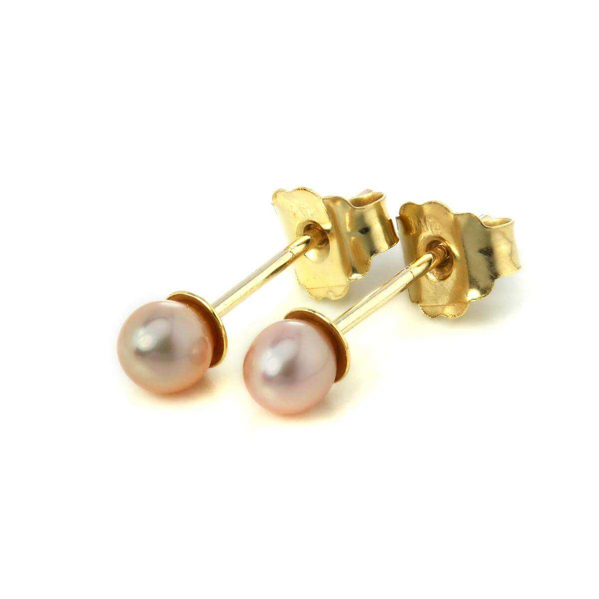 9ct Gold Small 3mm Freshwater Pearl Stud Earrings Violet