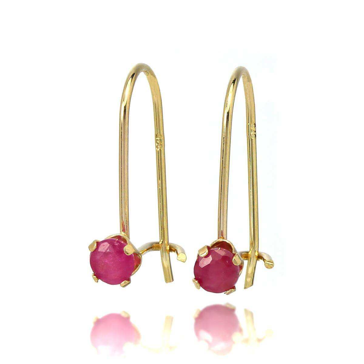9ct Gold & 3mm Round Gemstone Leverback Earrings Ruby
