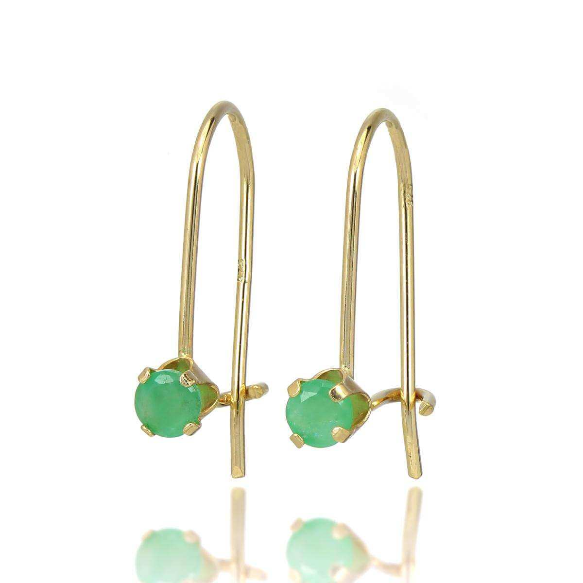 9ct Gold & 3mm Round Gemstone Leverback Earrings Emerald