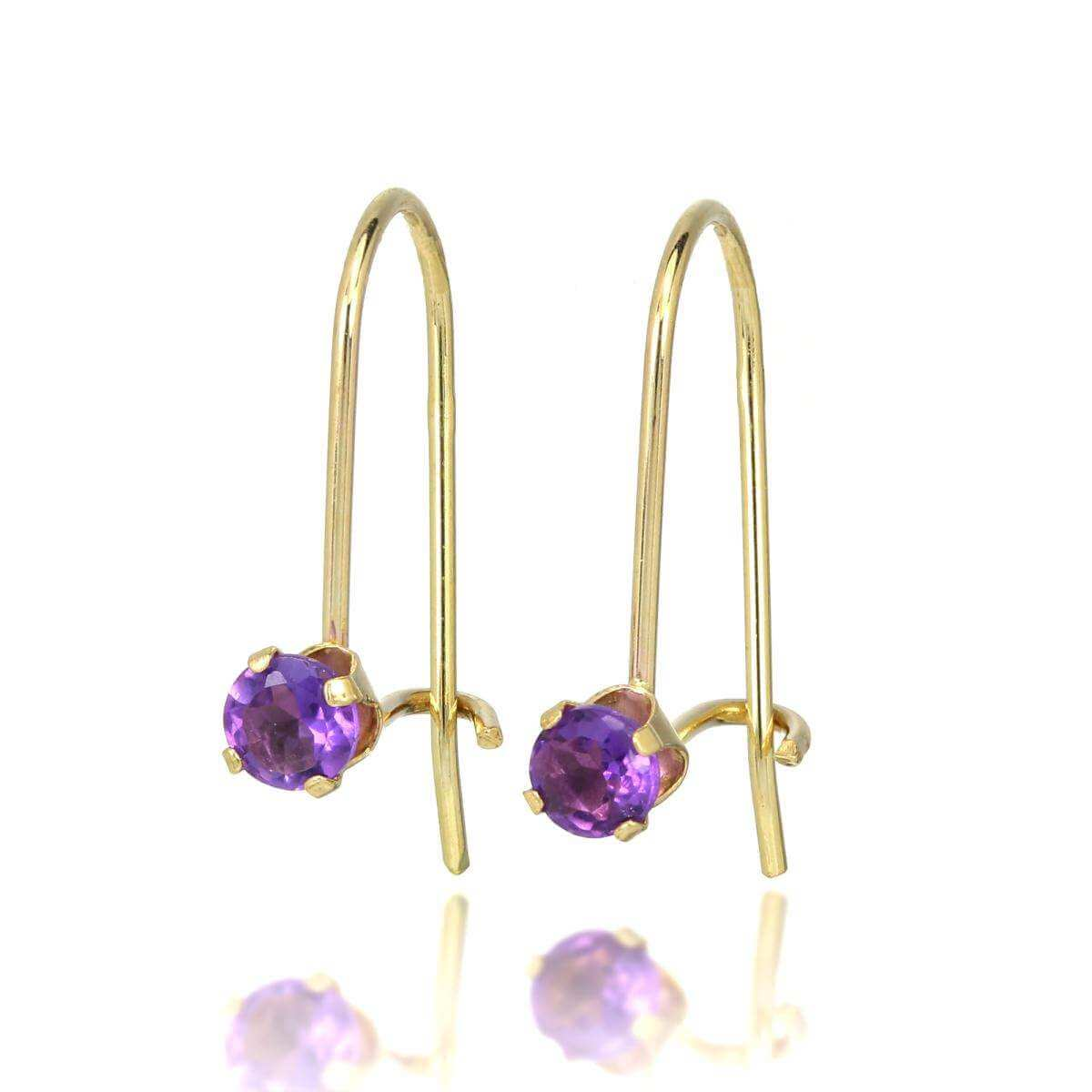 9ct Gold & 3mm Round Gemstone Leverback Earrings Amethyst