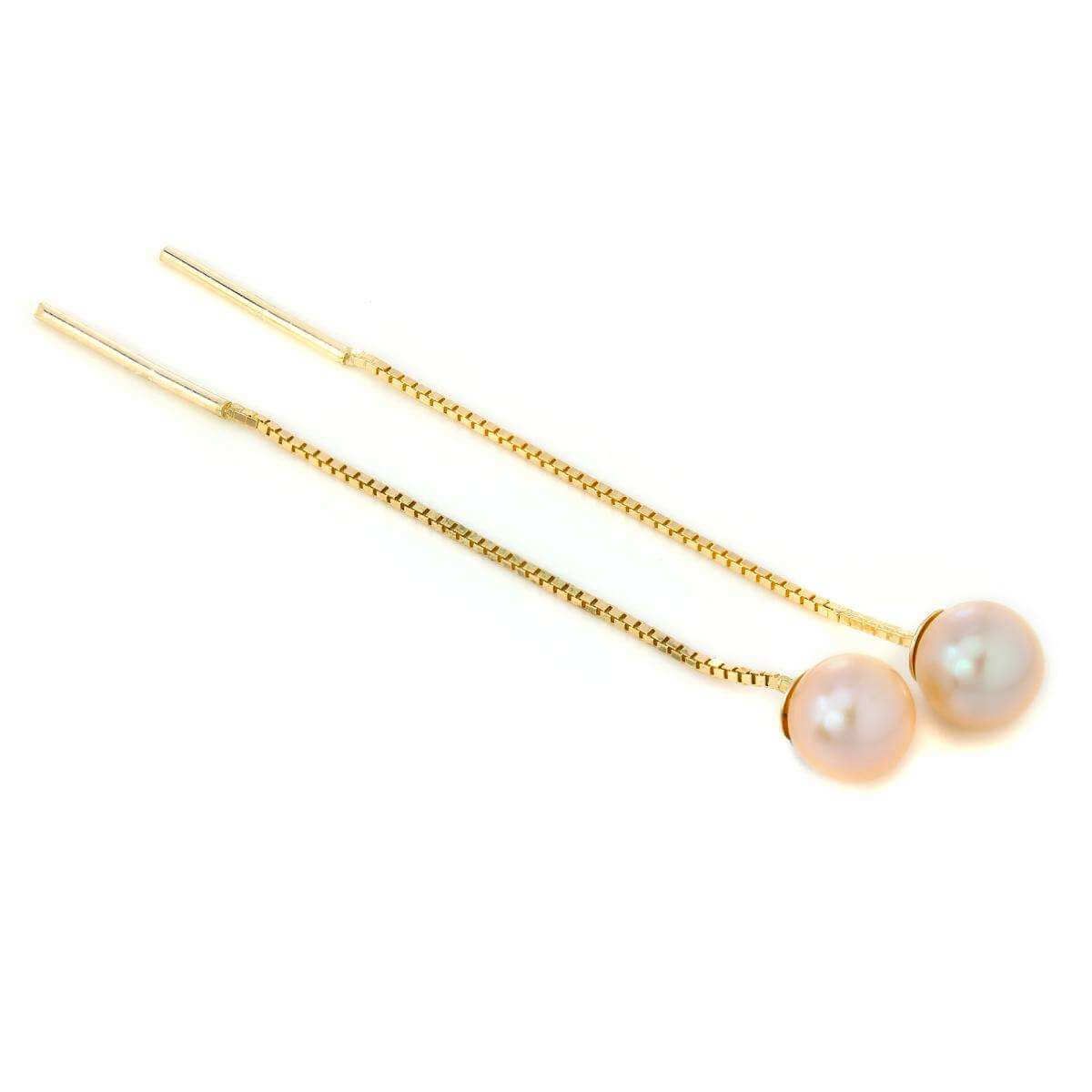 9ct Gold & Pink Freshwater Pearl Pull Through Threader Earrings