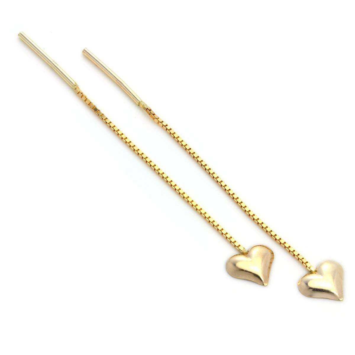 9ct Gold Heart Pull Through Threader Earrings