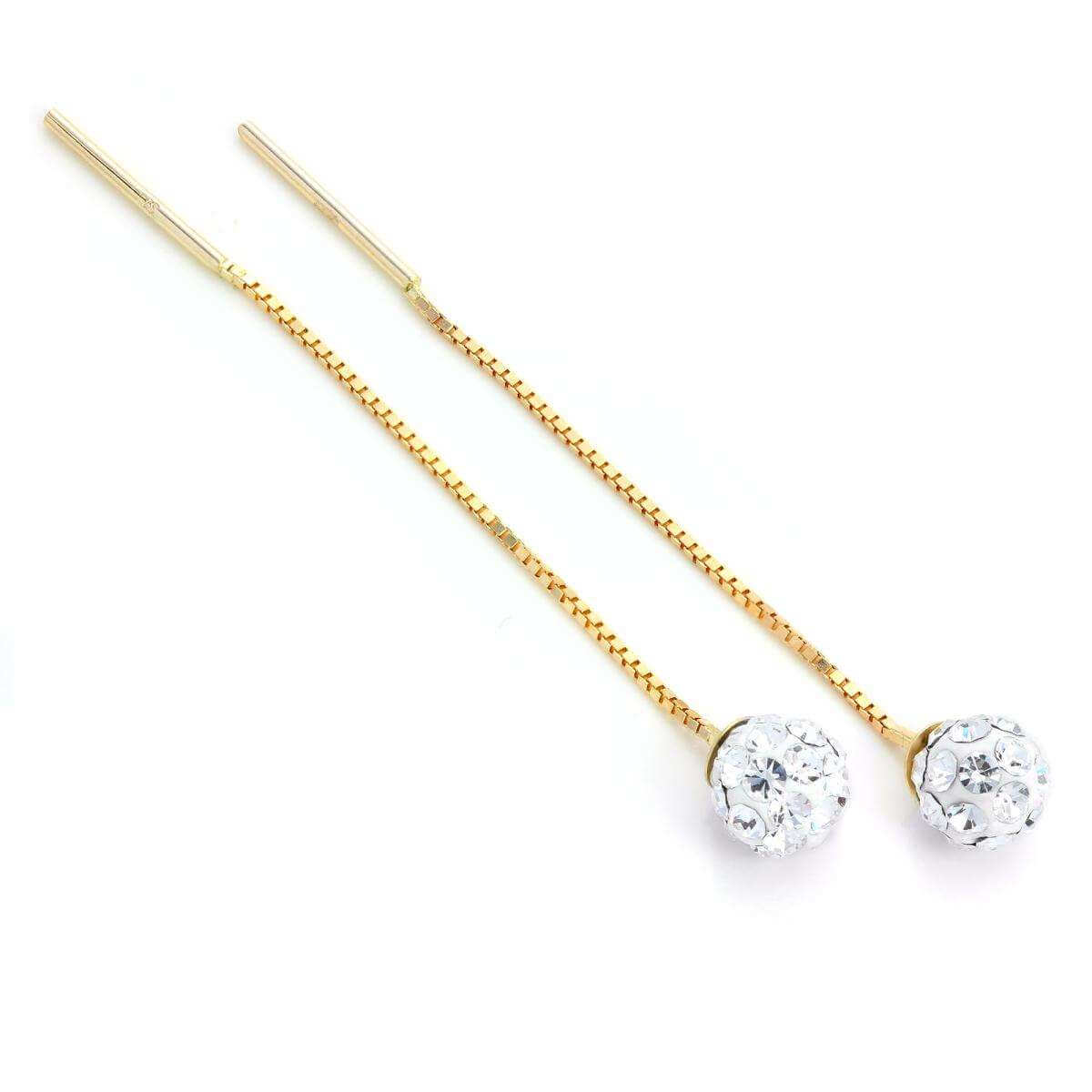9ct Gold Clear CZ Crystal 5mm Ball Pull Through Threader Earrings